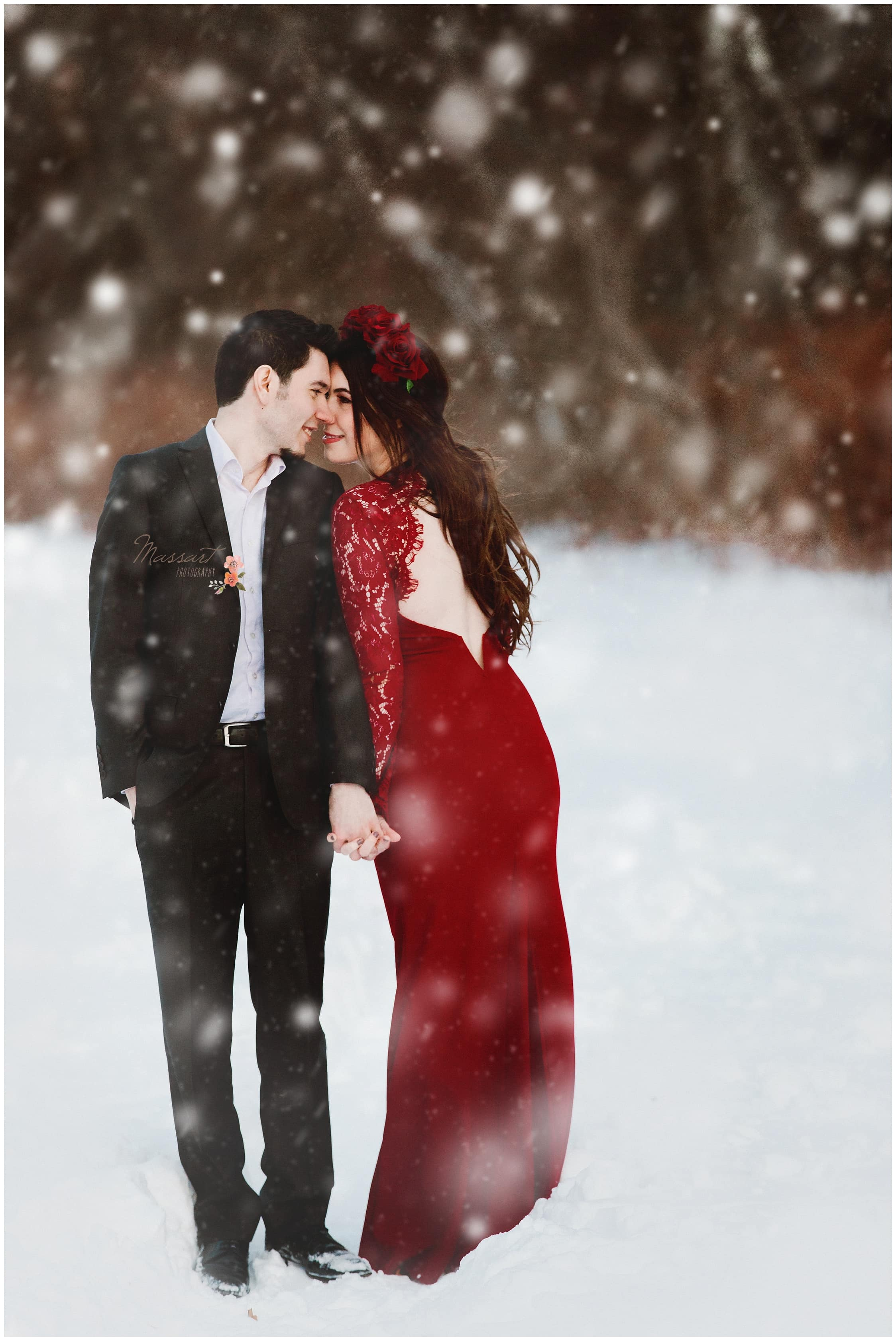 Snow engagement session taken by Rhode Island photographers from Massart Photography who also service CT and MA