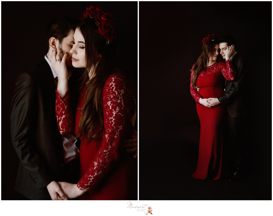 Moody and dramatic engagement photos in studio by Massart Photographers who service Rhode Island, Connecticut and Massachusetts