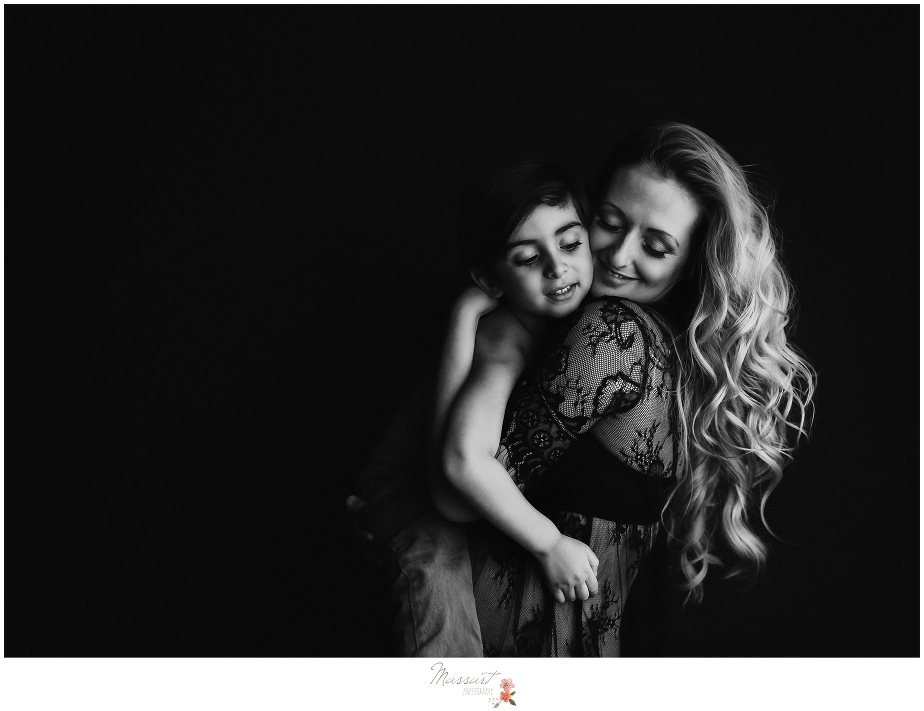 Black and white, timeless mother and child photo taken by Massart Photography photographers in RI, CT and MA