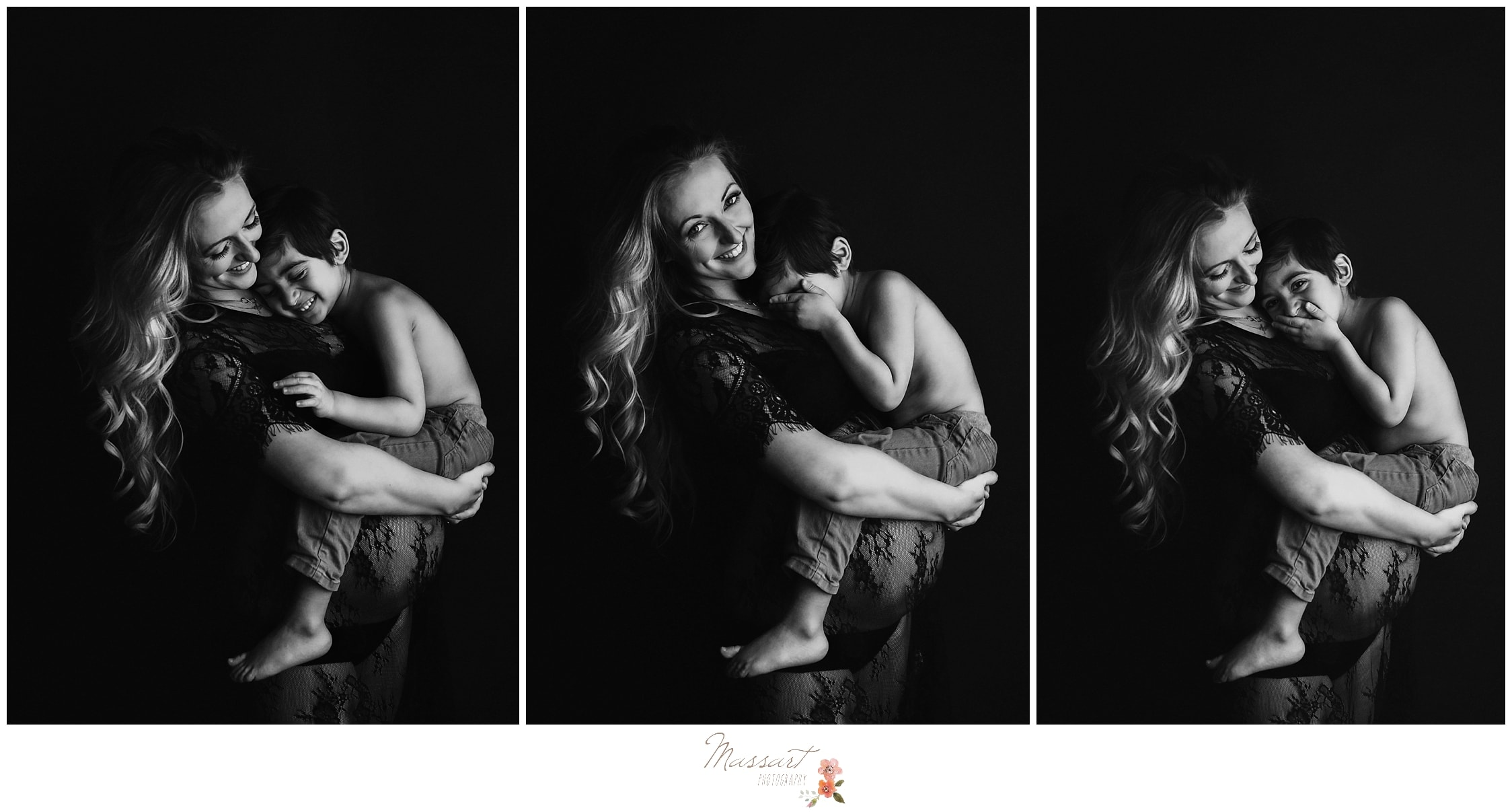 Mother and son photo of sibling during Massart Photography's maternity photo session in RI