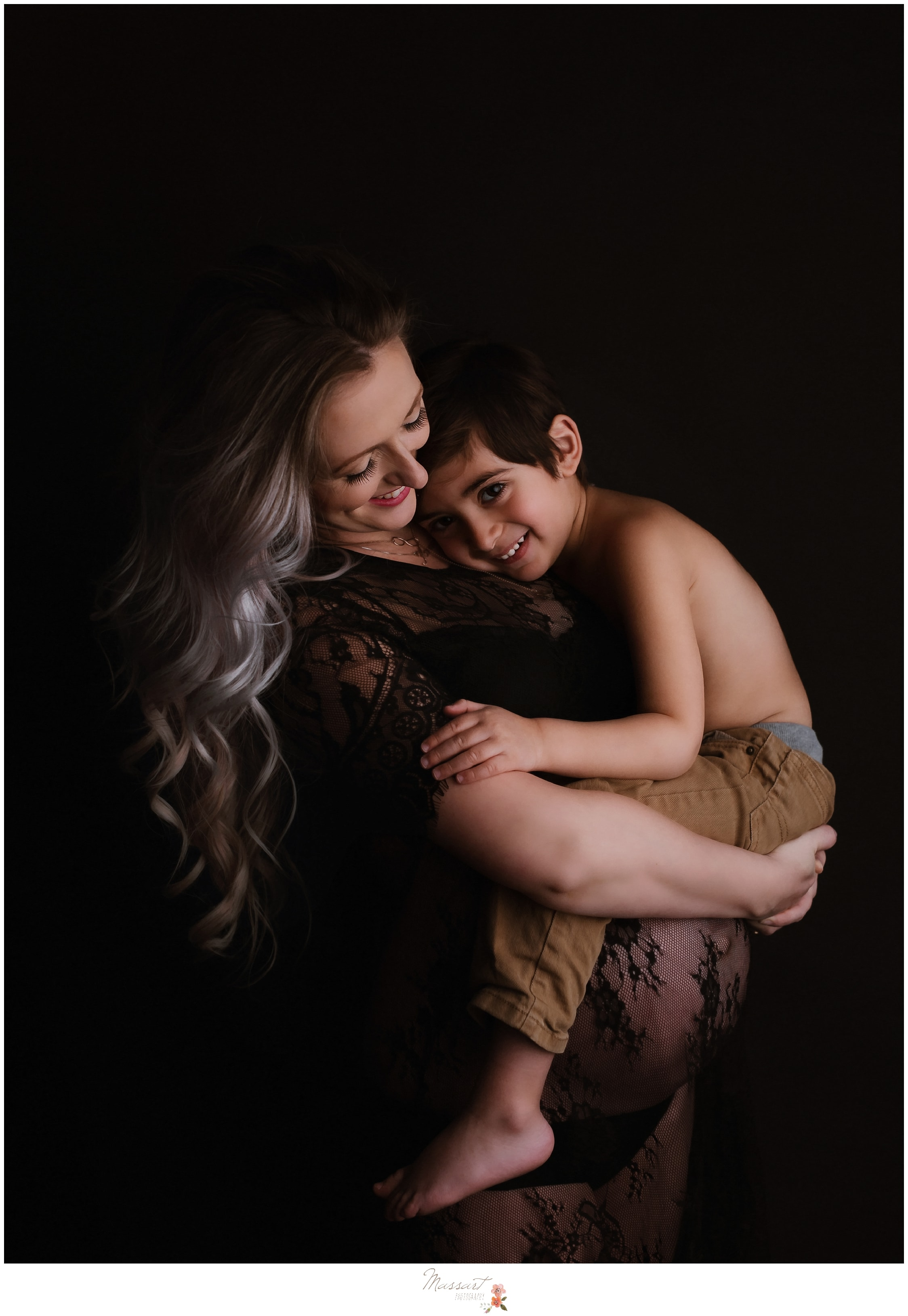 Mother and son portrait during a maternity studio session by Massart Photography