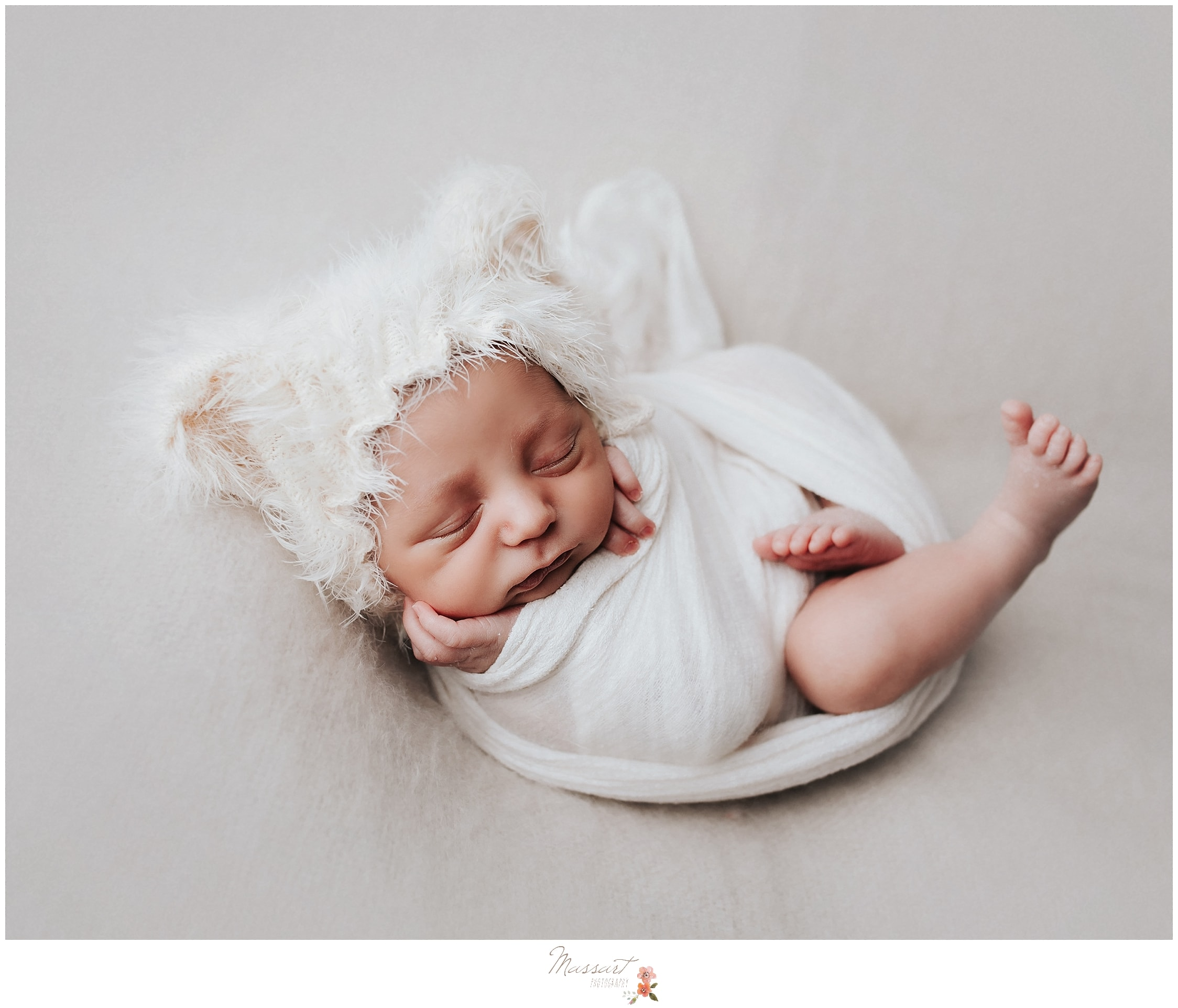 Newborn photographers from Massart Photography capture a baby portrait during a newborn session in Rhode Island