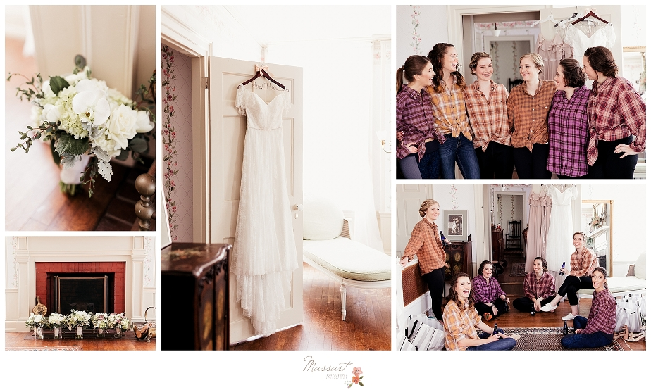 A bride and her bridesmaids with her flowers and gown as they get ready for the Linden Place Mansion wedding ceremony. Photos by Massart Photography RI
