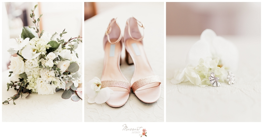 Wedding details include shoes, bouquet and earrings captured by Massart Photography RI