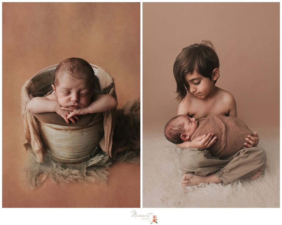A newborn baby is posed with his brother during their newborn portrait session at Massart Photography in Rhode Island