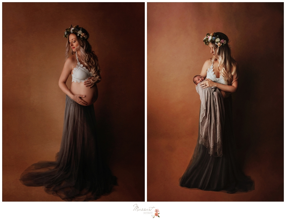 A pregnancy and newborn before and after taken during a maternity portrait session and a newborn baby photo session at Massart photography who services RI, CT and MA