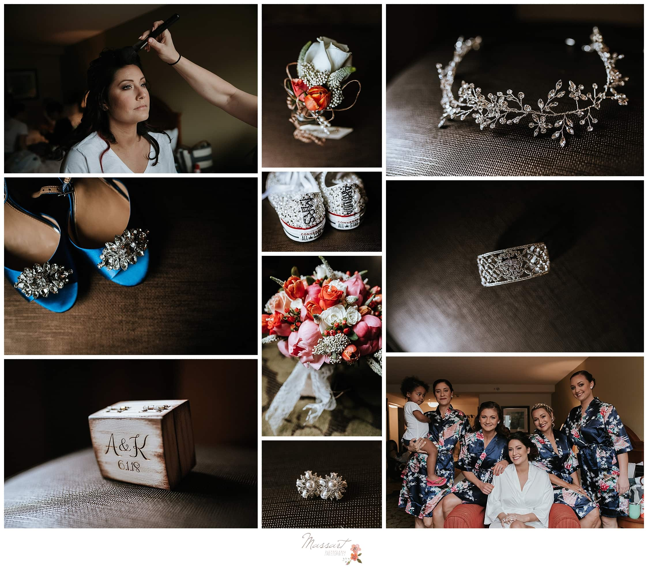 Getting ready details for blue and coral wedding at Harbor Lights RI photographed by CT wedding photographers Massart Photography.