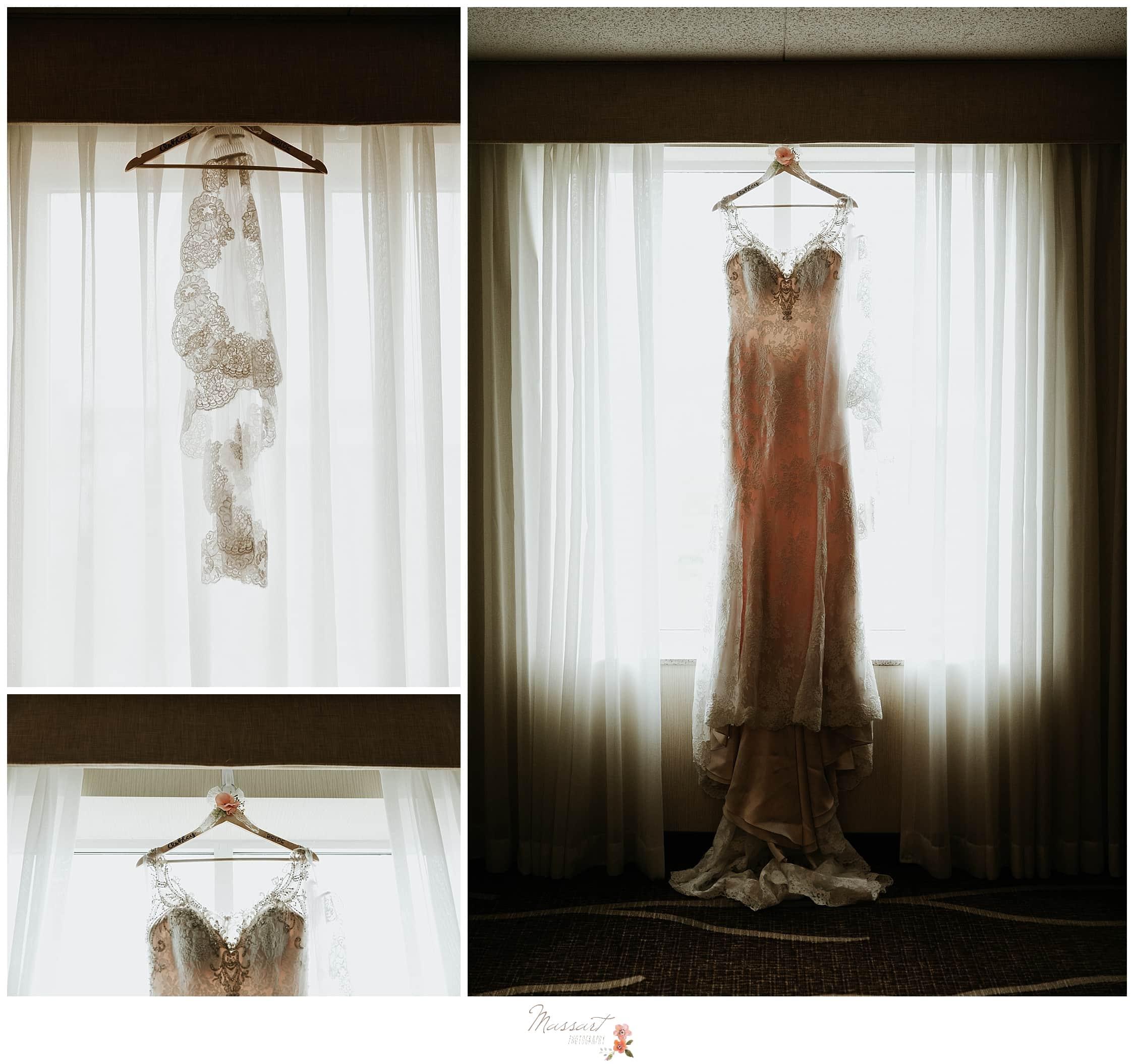 Stunning ivory and lace wedding dress photographed by RI, MA and CT photographers Massart Photography.