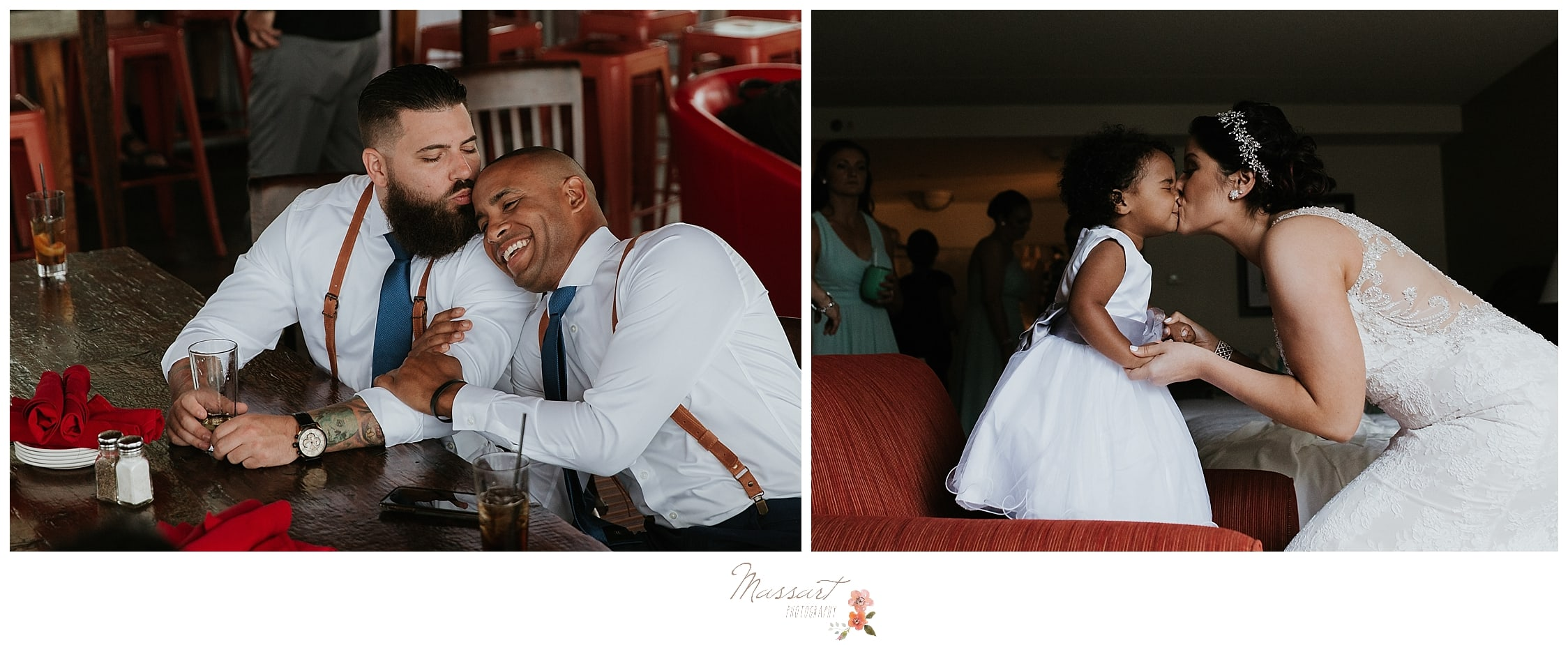 Groomsmen being silly while getting ready and bride kissing the flower girl at Harbor Lights in RI photographed by Massart Photography who specializes in RI weddings.