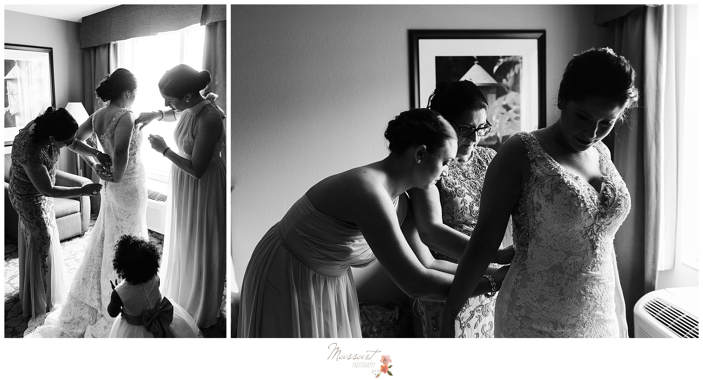 Bridesmaids getting bride into wedding dress for summer wedding at Harbor Lights in RI photographed by Massart Photography, maternity, newborn and family photographers.
