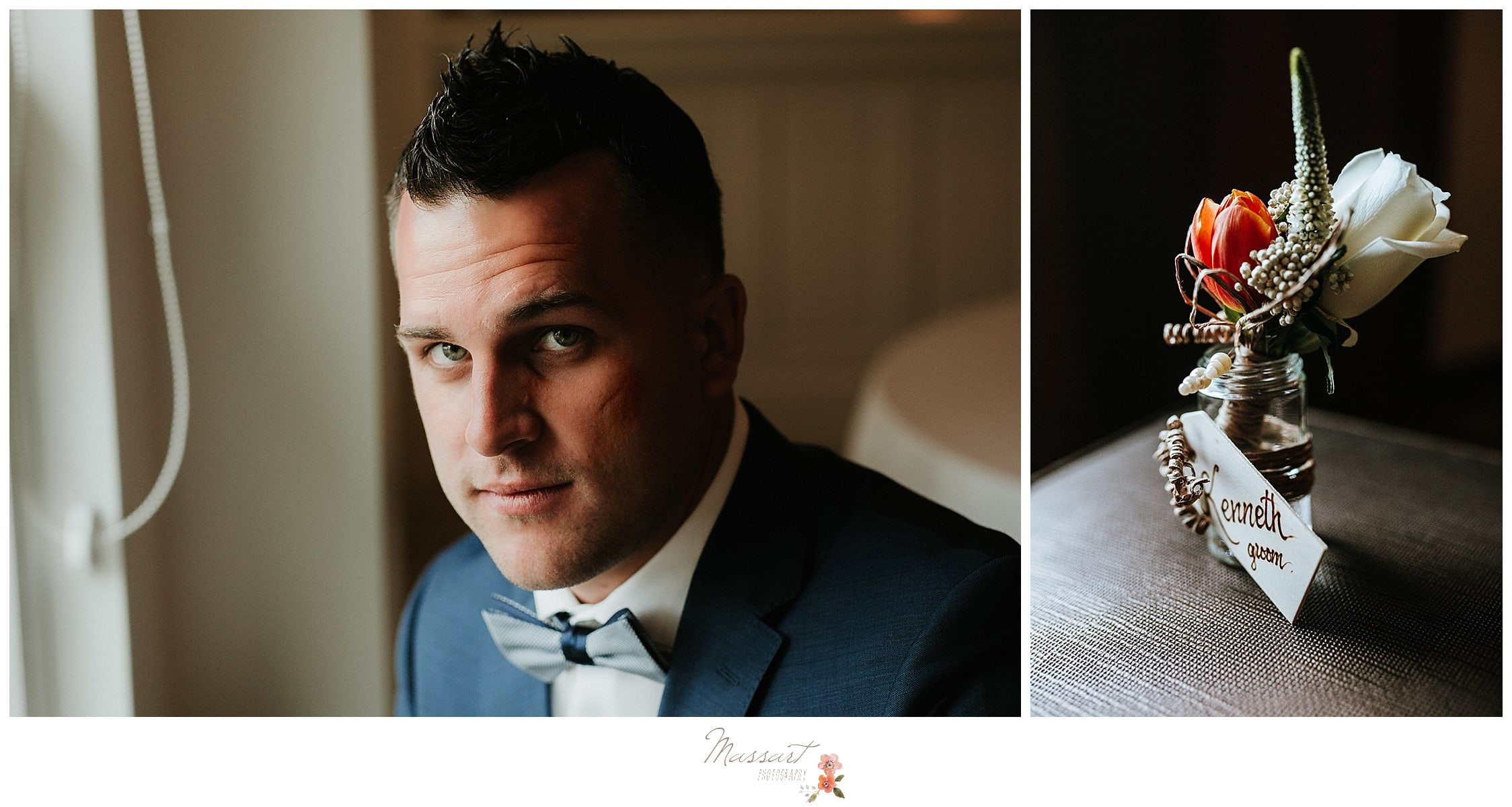 Groom with coral and ivory boutonnière for summer wedding at Harbor Lights photographed by Massart Photography, RI wedding photographers.