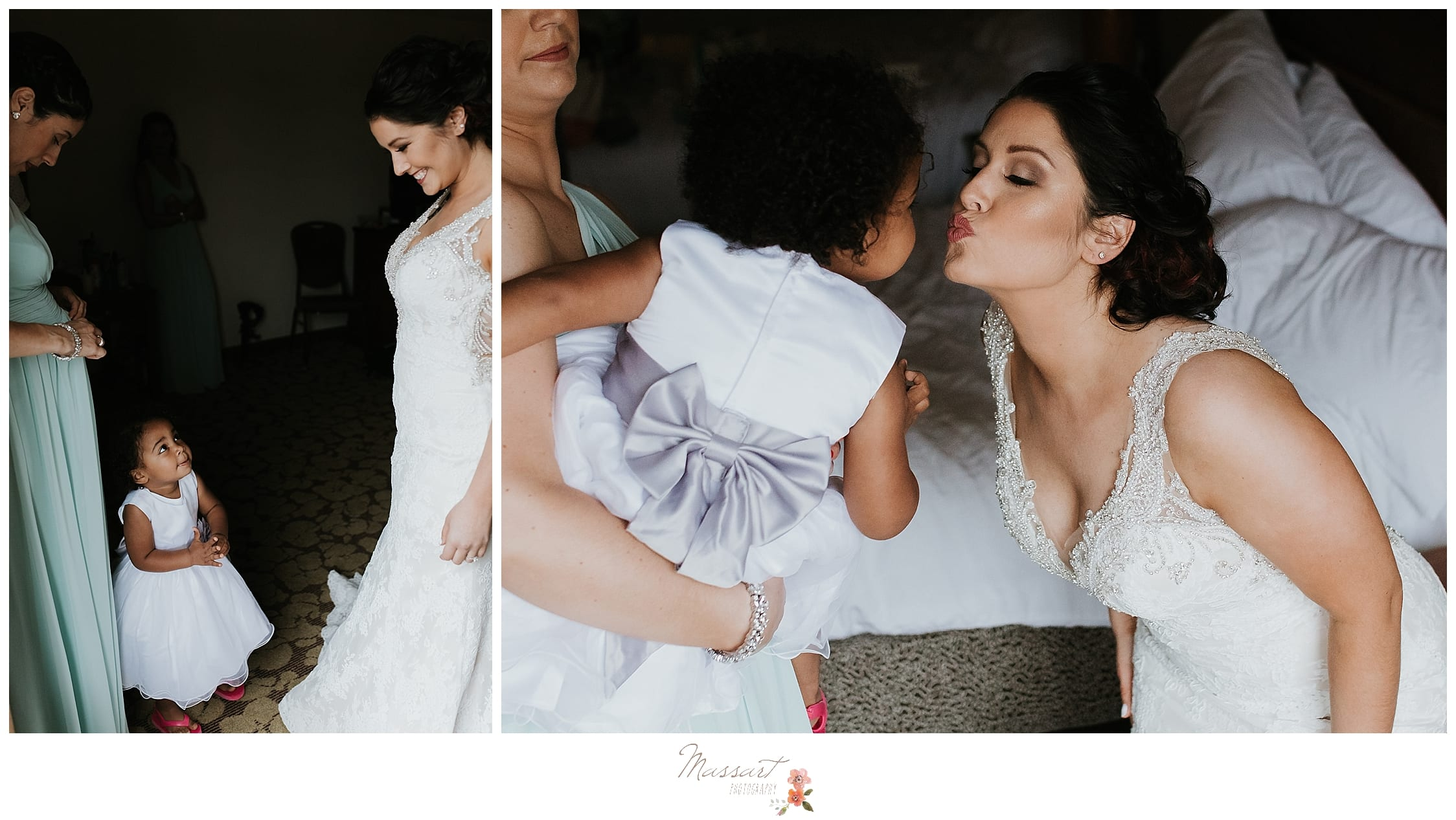 Bride with flower girls in white gowns with silver bows photographed by Massart Photography, RI, CT, and MA wedding photographers.