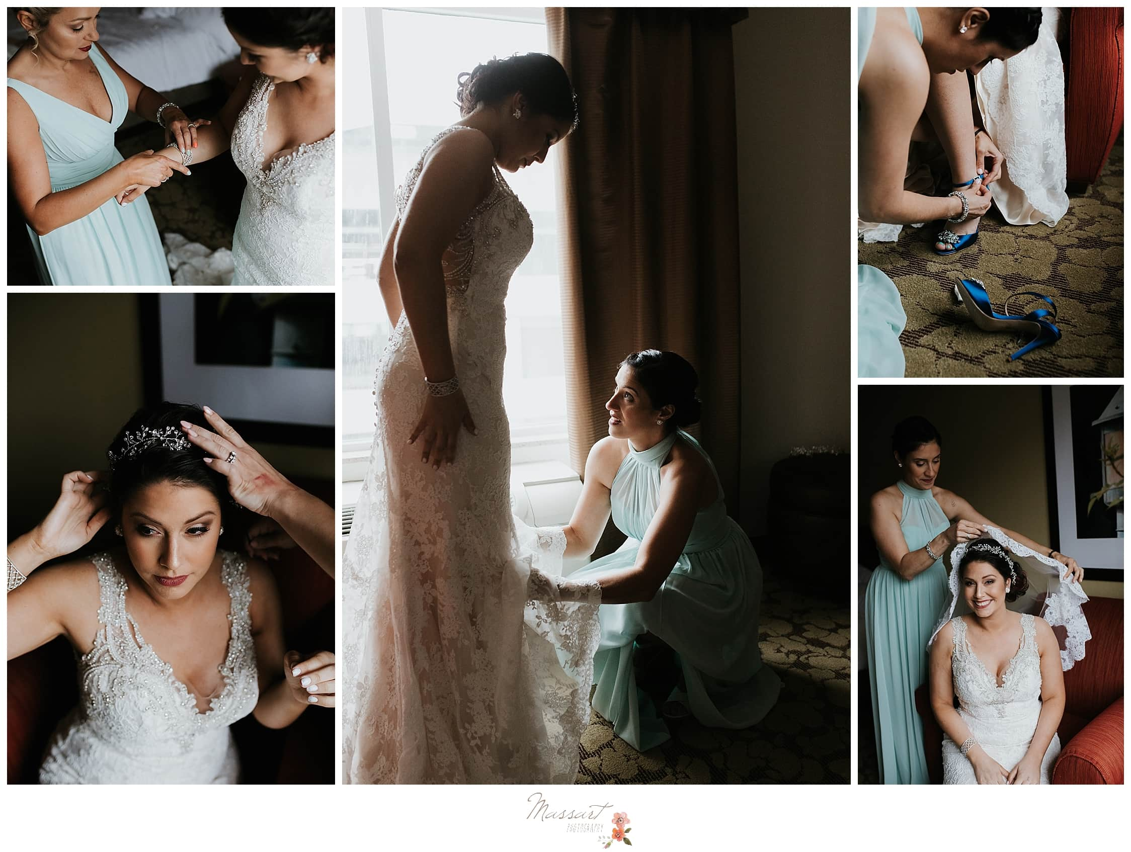 Bride puts veil and shoes on with bridesmaids before summer wedding in RI captured by Massart Photography, CT wedding photographers who offer family and newborn sessions.