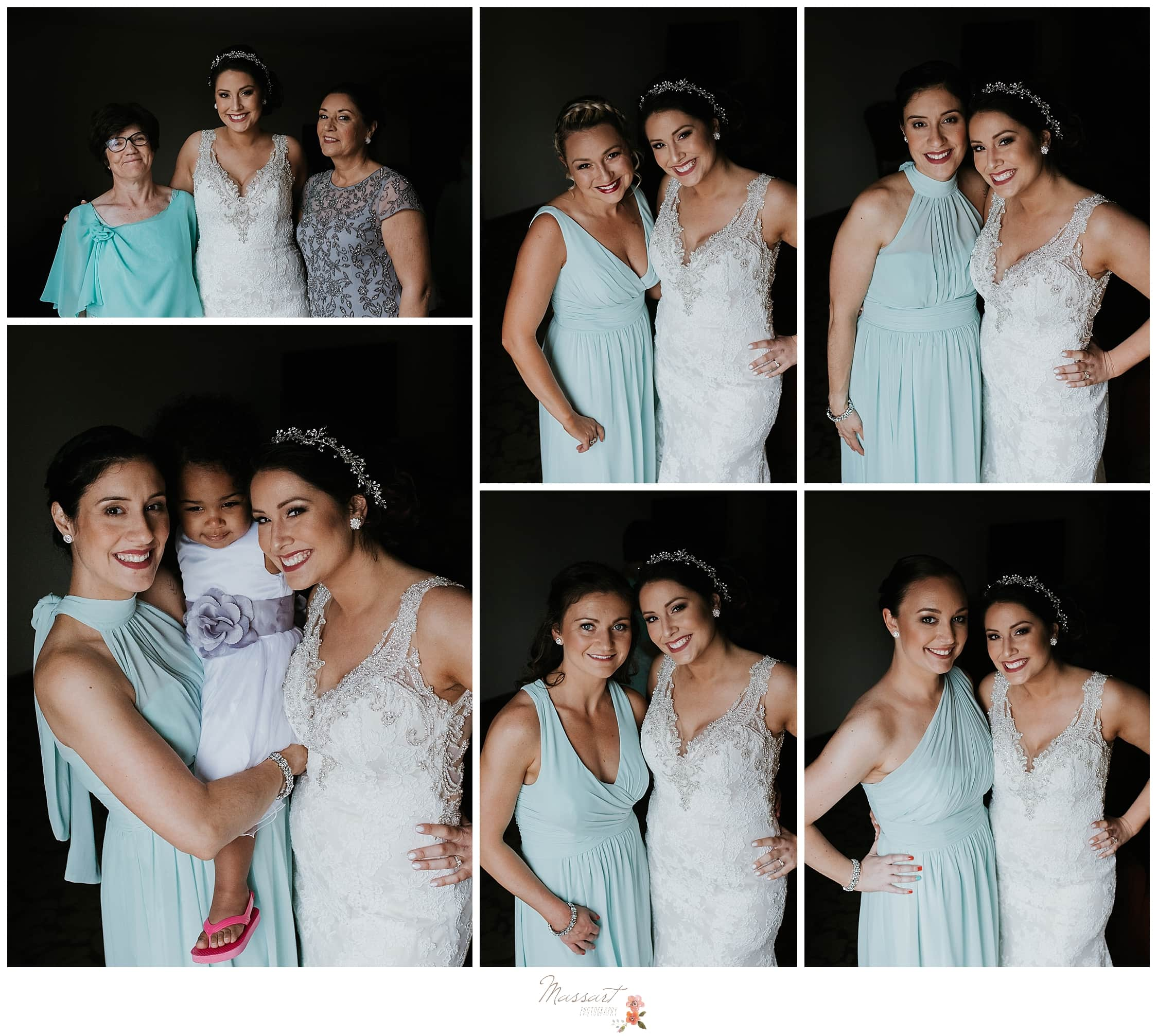 Bride with bridesmaids in teal bridesmaids dresses before summer wedding photographed by CT and RI wedding photographers Massart Photography.