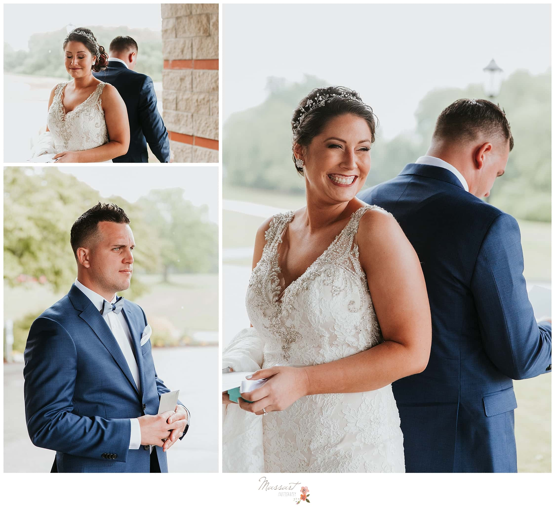 Bride and groom during first look at Harbor Lights wedding in RI photographed by Massart Photography, CT and MA wedding photographers.