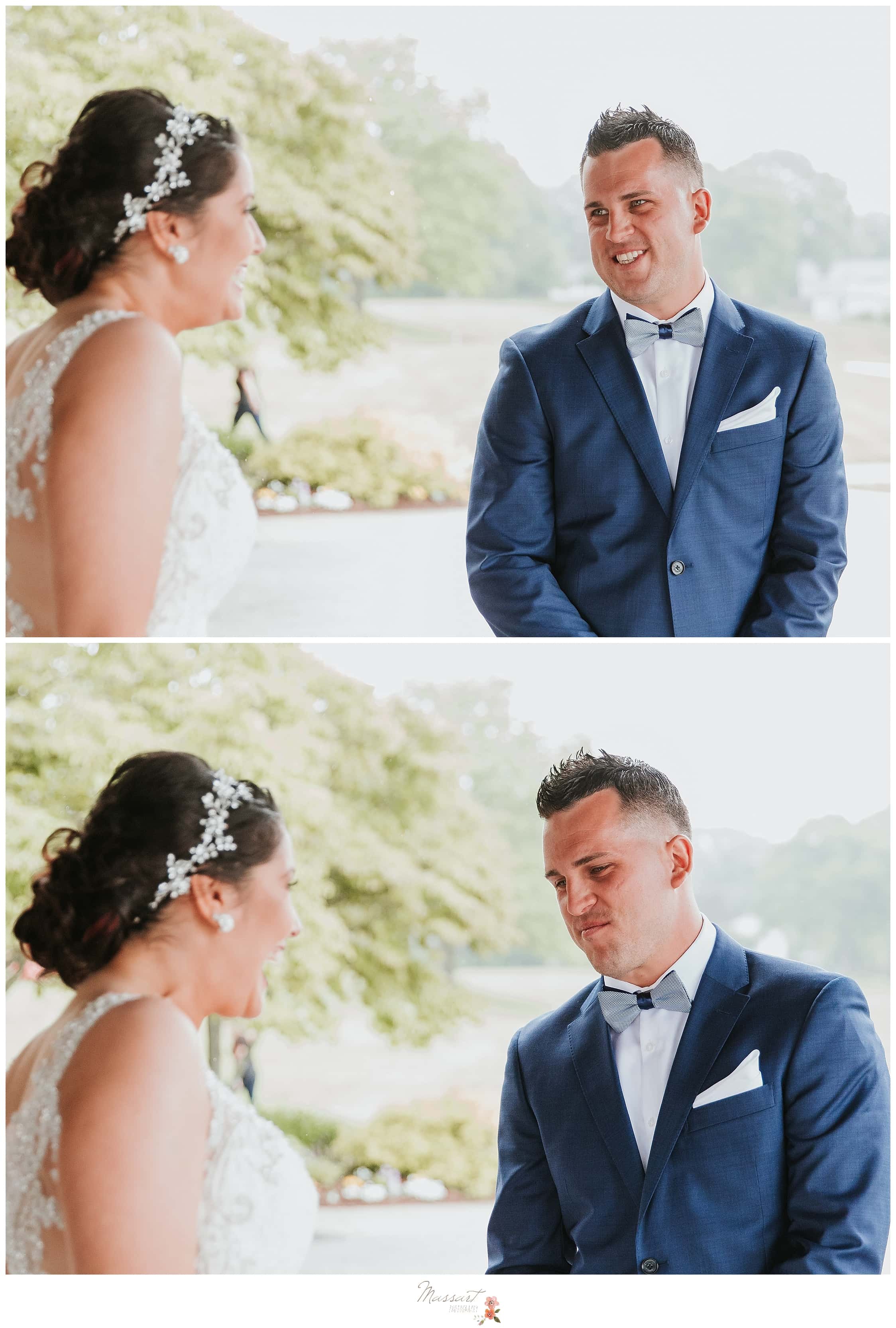 Groom sees bride for the first time during summer wedding at Harbor Lights photographed by Massart Photography, CT wedding photographers.