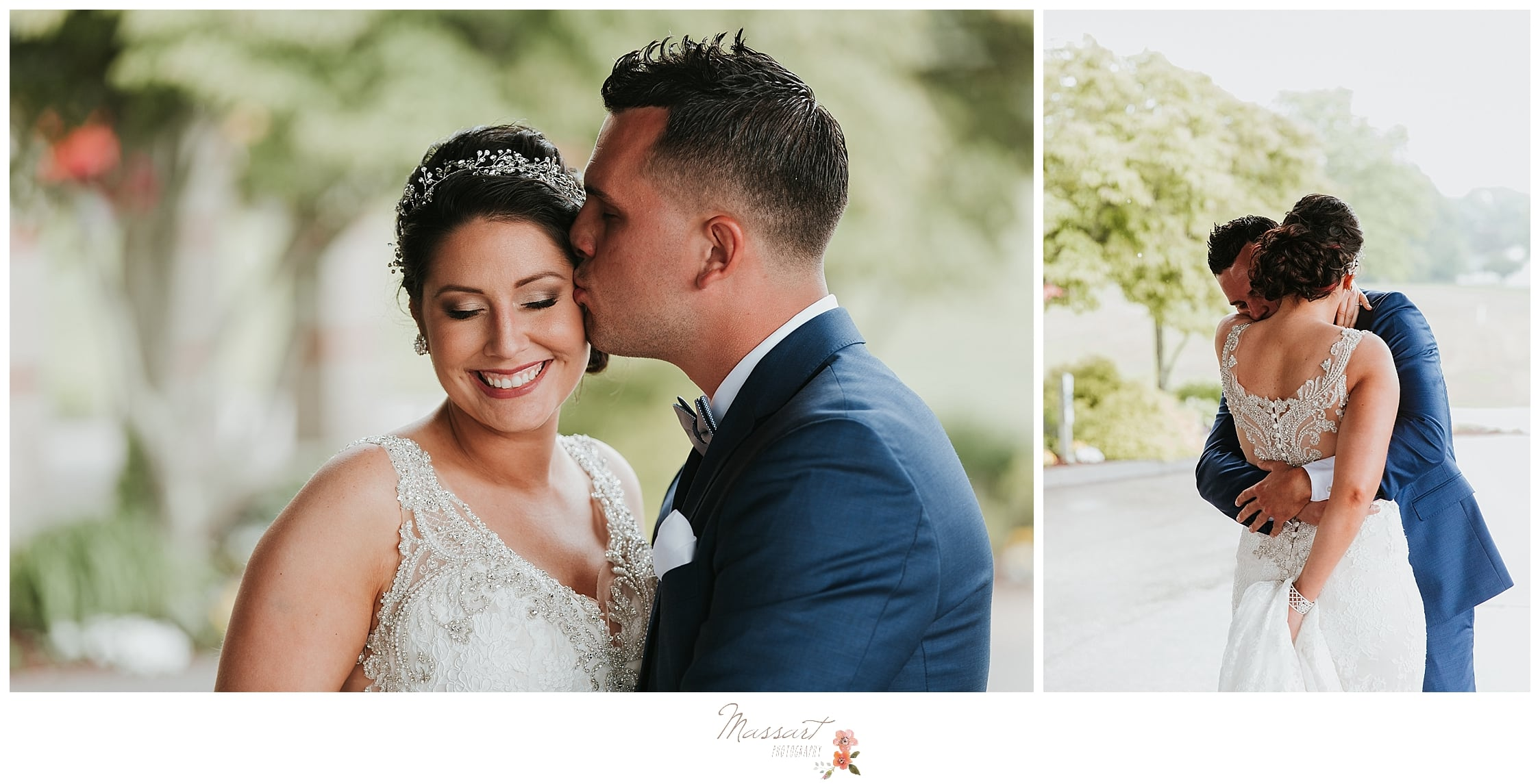 Bride and groom portrait during summer wedding photographed by RI wedding photographers Massart Photography.