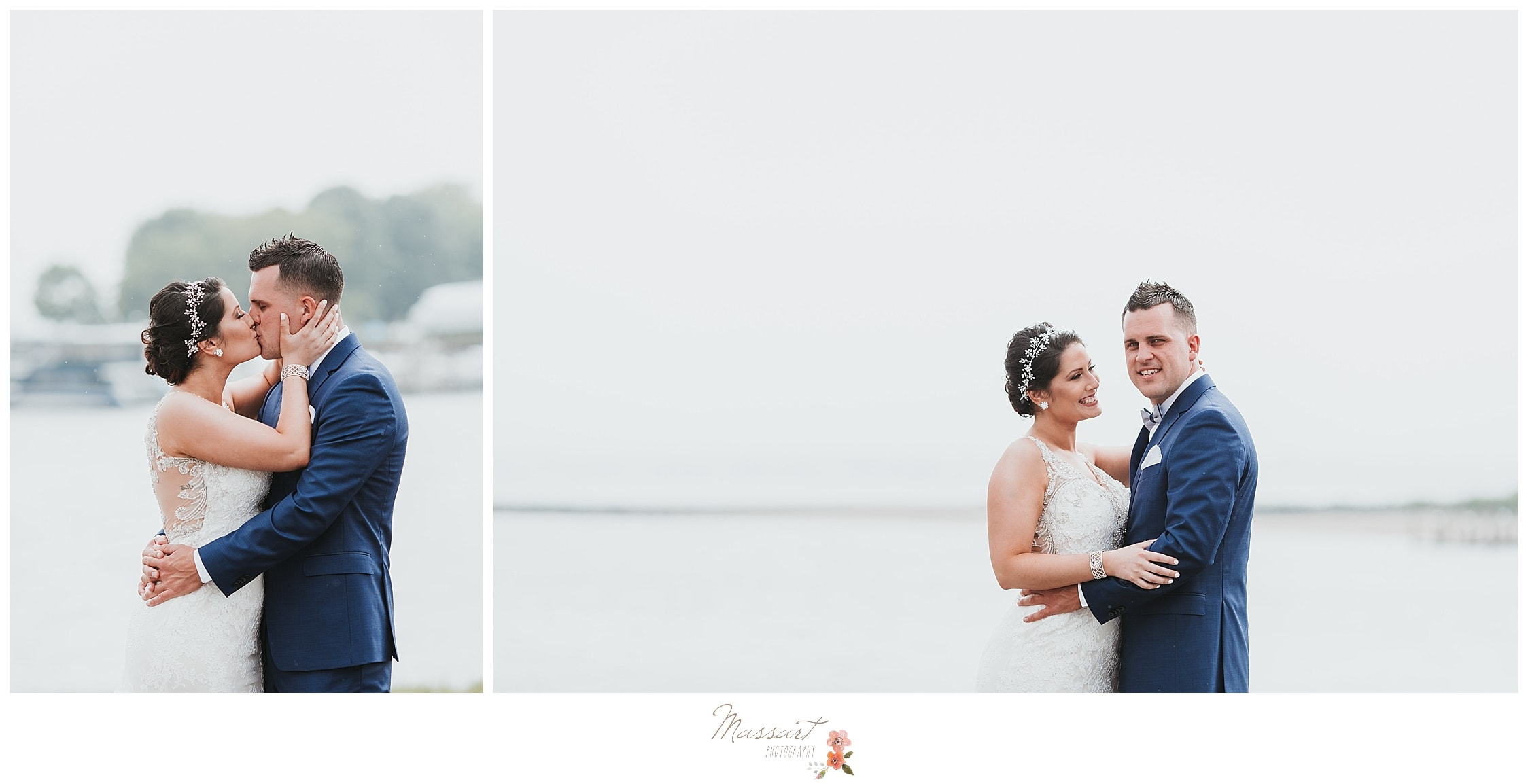 Waterfront wedding portraits at Harbor Lights in RI photographed by Massart Photography, CT wedding photographers.