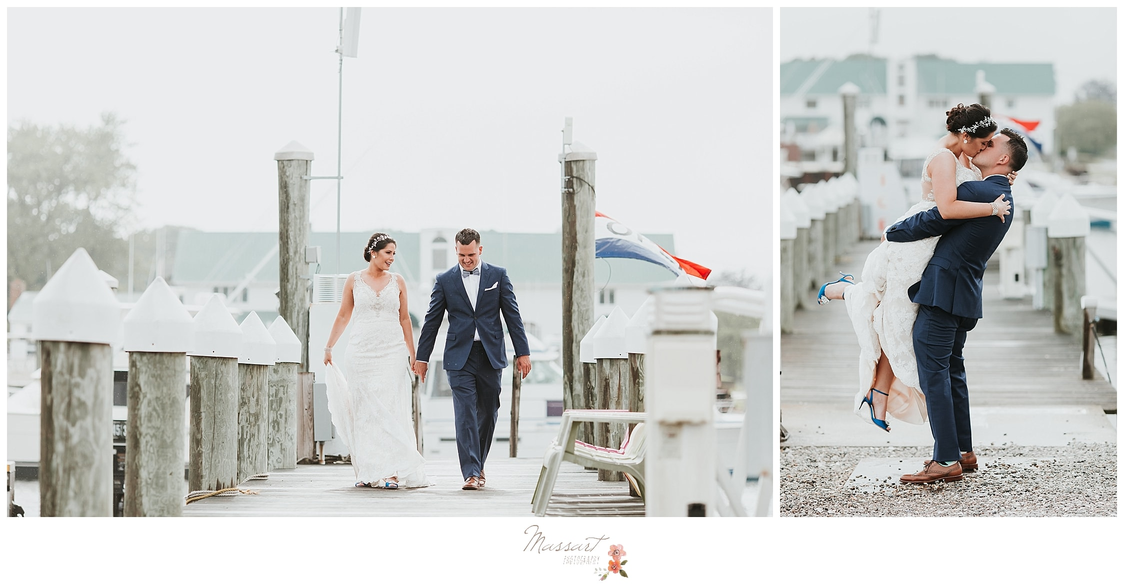 Bride and groom portraits on the marina at Harbor Lights in RI captured by RI wedding photographers Massart Photography.
