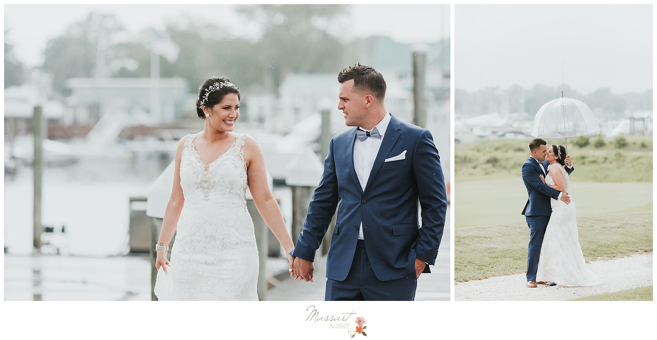 Rainy summer wedding day portraits photographed by CT wedding photographers Massart Photography who offer maternity, newborn, family and baby sessions.