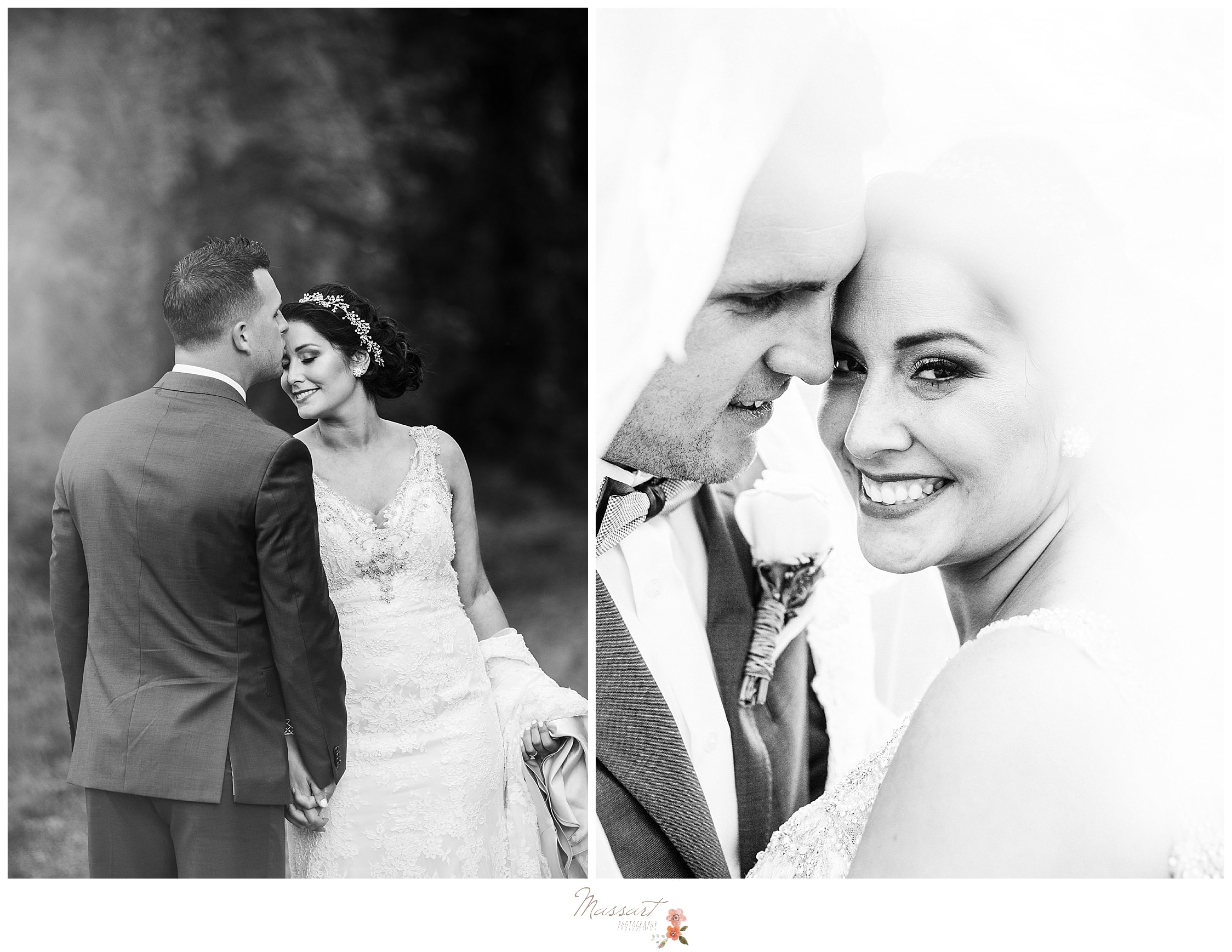 Classic black and white portraits of bride and groom at Harbor Lights in RI photographed by Massart Photography, CT wedding photographers.