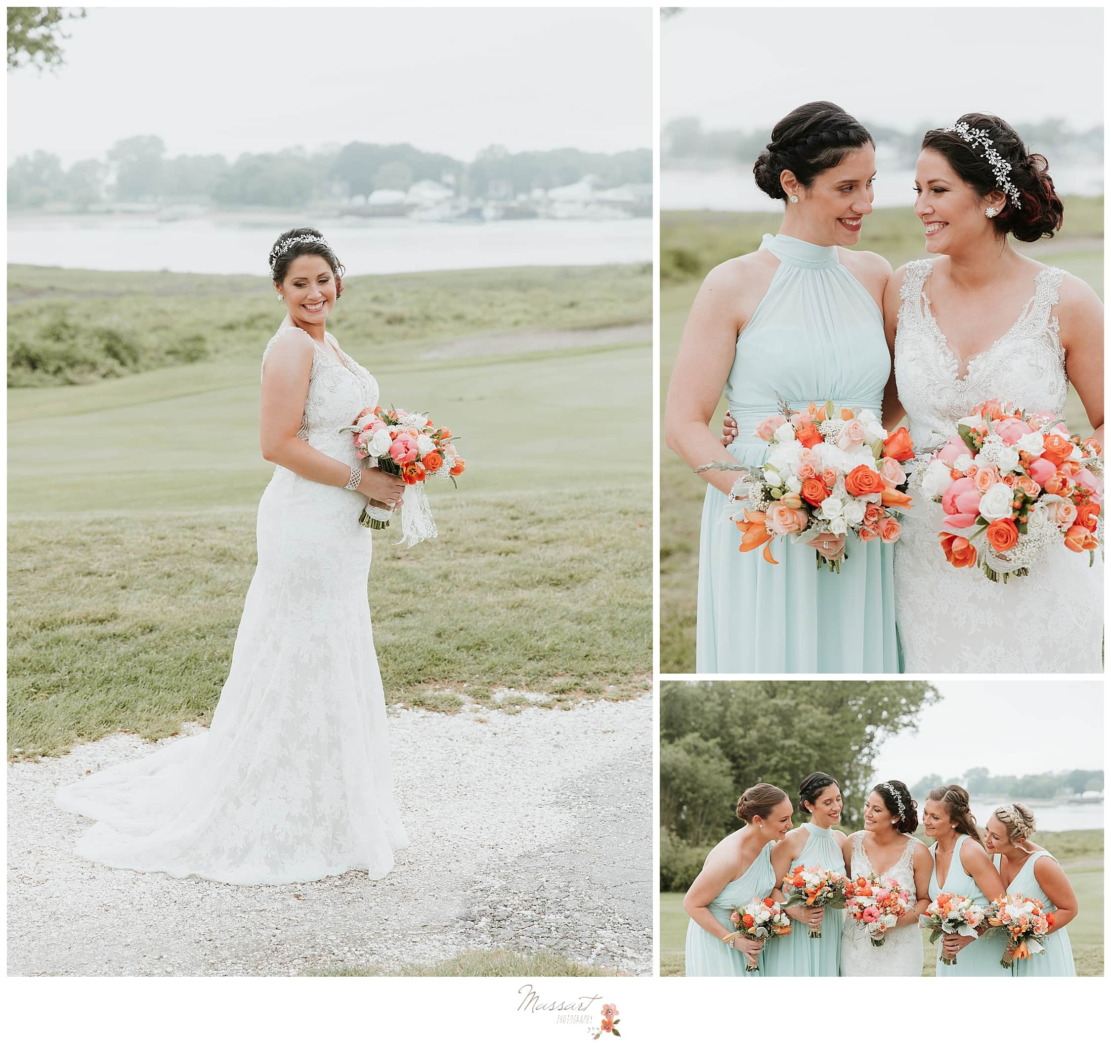 Bridal portrait with coral wedding bouquet and bridesmaids in teal dresses with coral floral bouquets photographed by RI, MA and CT wedding photographers Massart Photography.
