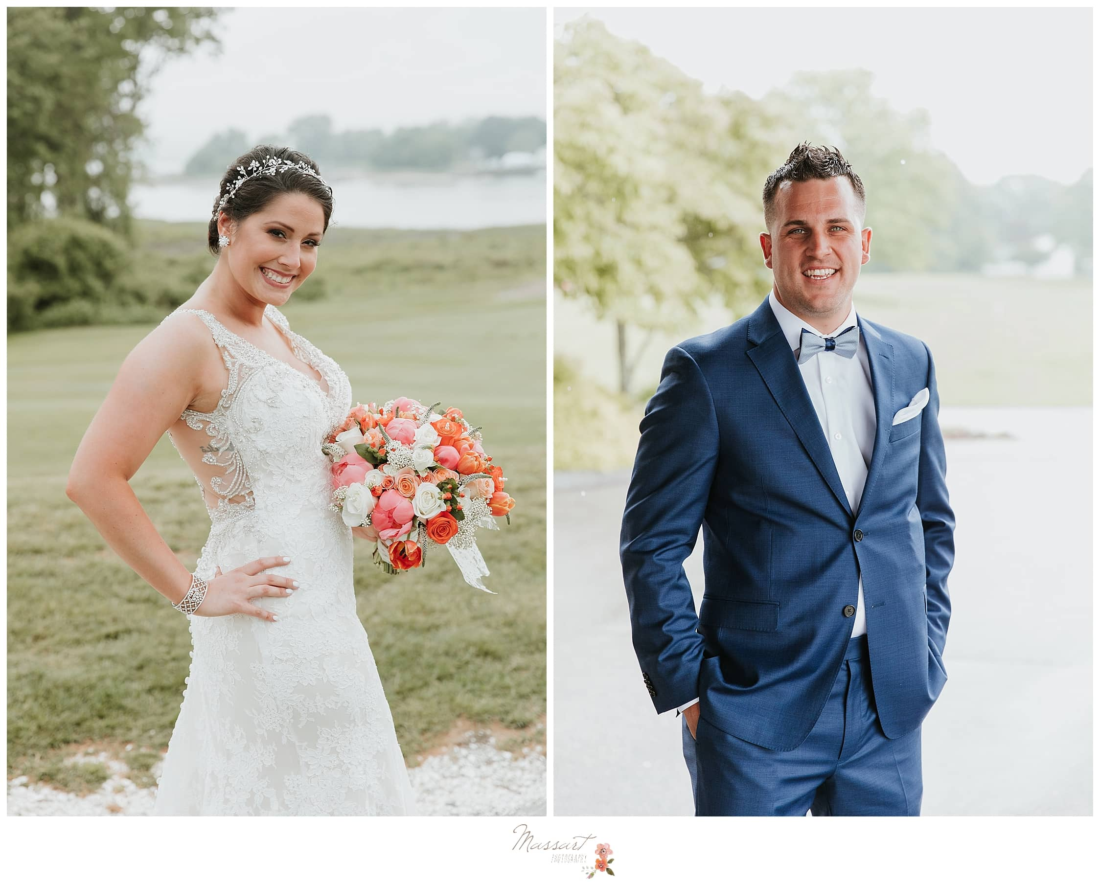 Summer bridal portrait and groom in navy suit photographed by Massart Photography, MA, CT and RI wedding photographers.