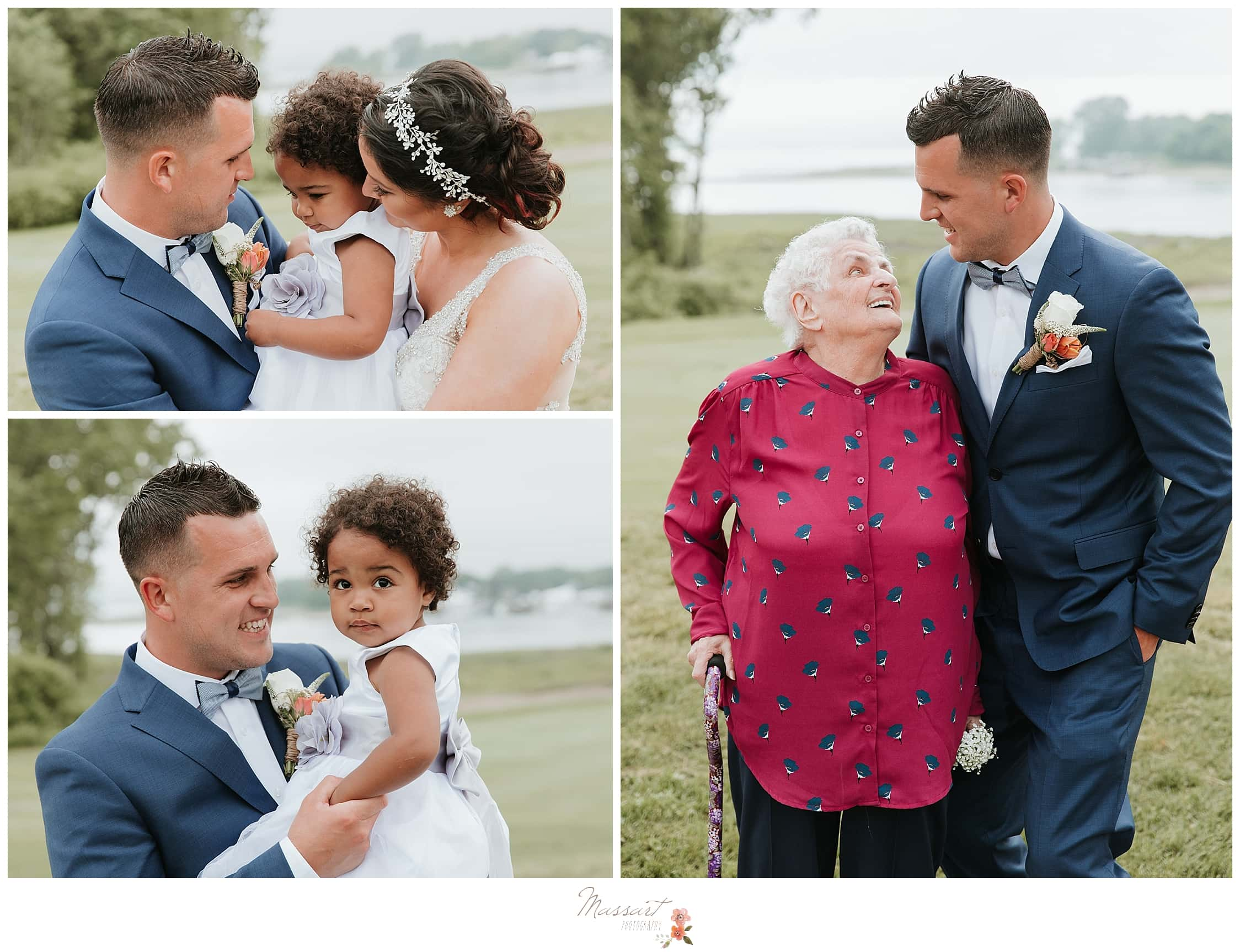 Bride and groom with flower girl and grandmother during summer wedding at Harbor Lights photographed by RI wedding photographers Massart Photography.