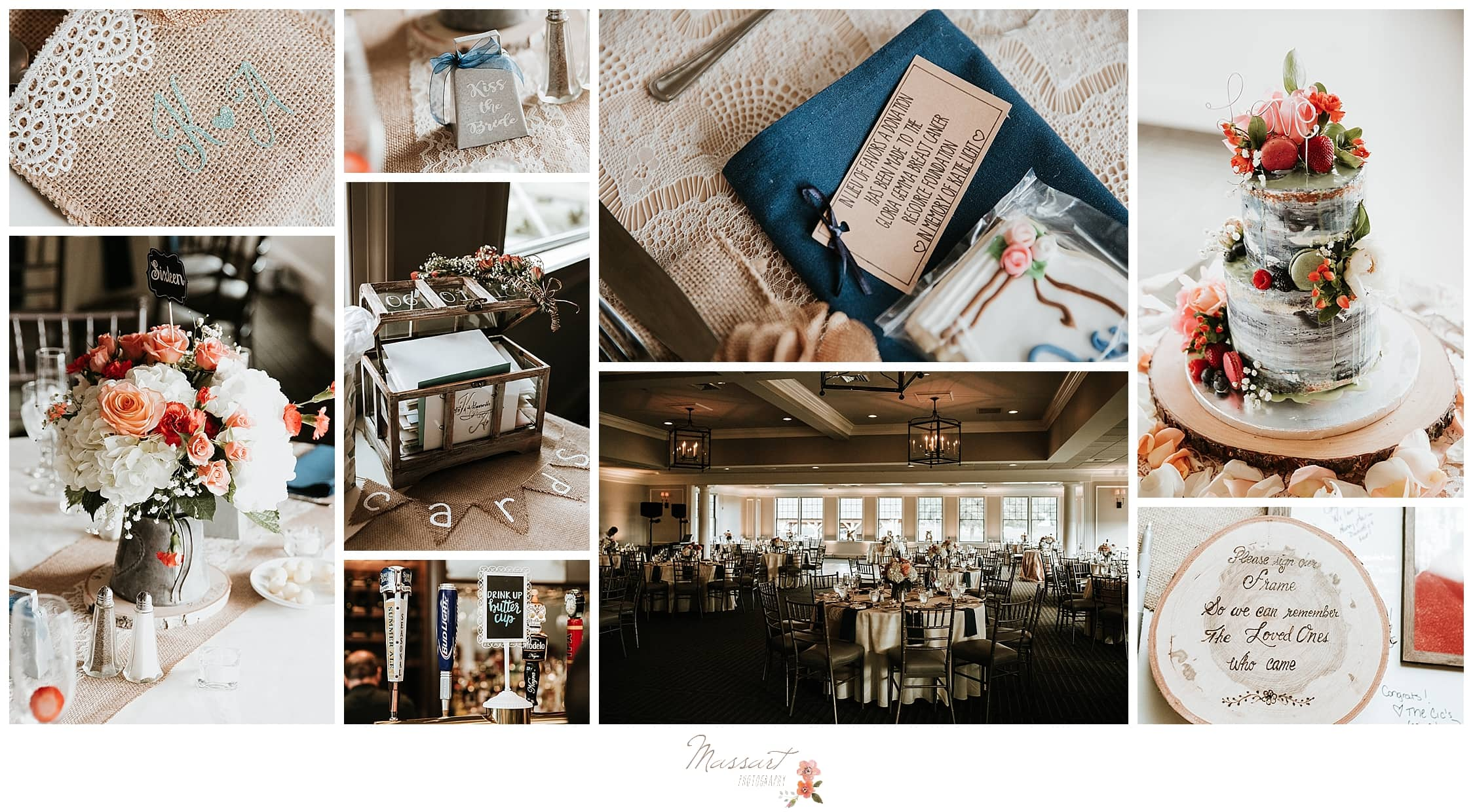Navy and coral wedding reception details for summer wedding at Harbor Lights by RI wedding photographers Massart Photography