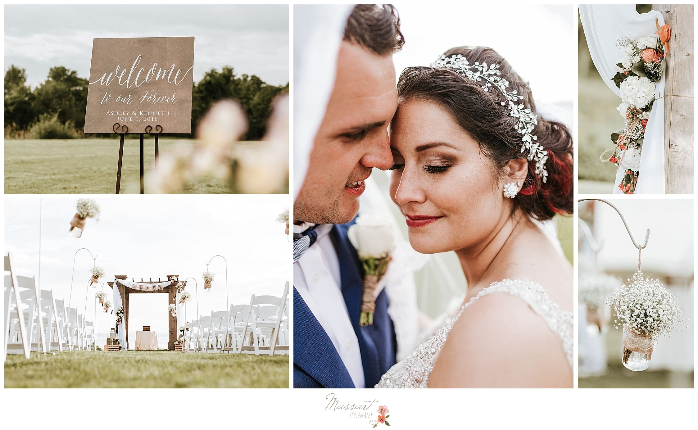 Outdoor summer wedding with rustic touches photographed by RI wedding photographers Massart Photography.