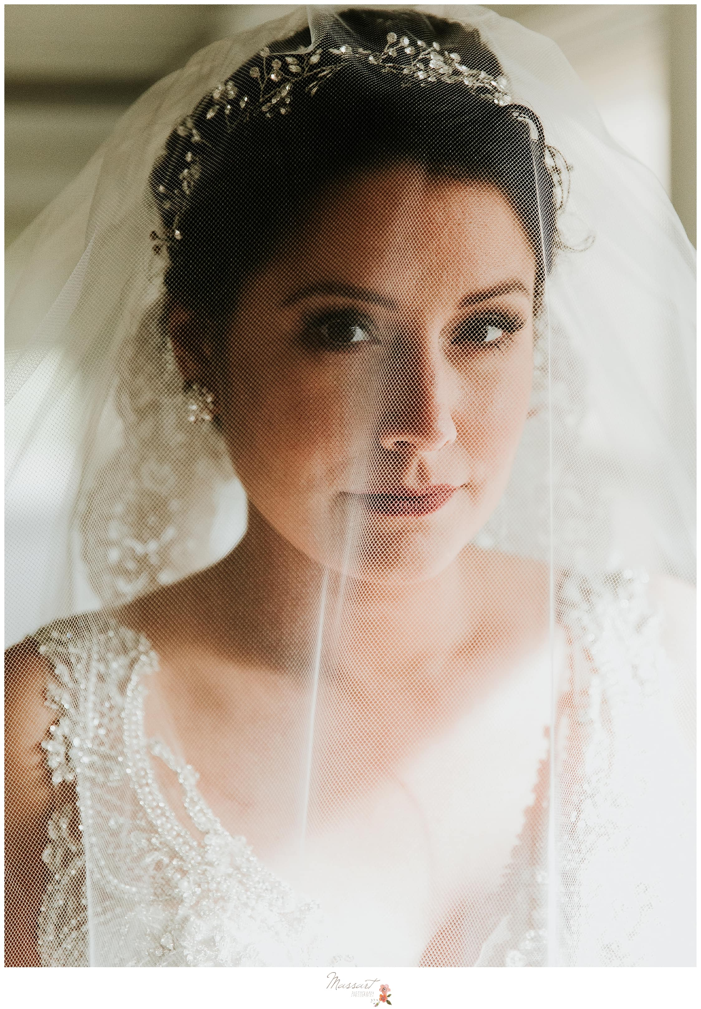 Classic bridal portrait with veil photographed by RI, MA, and CT wedding photographers Massart Photography.