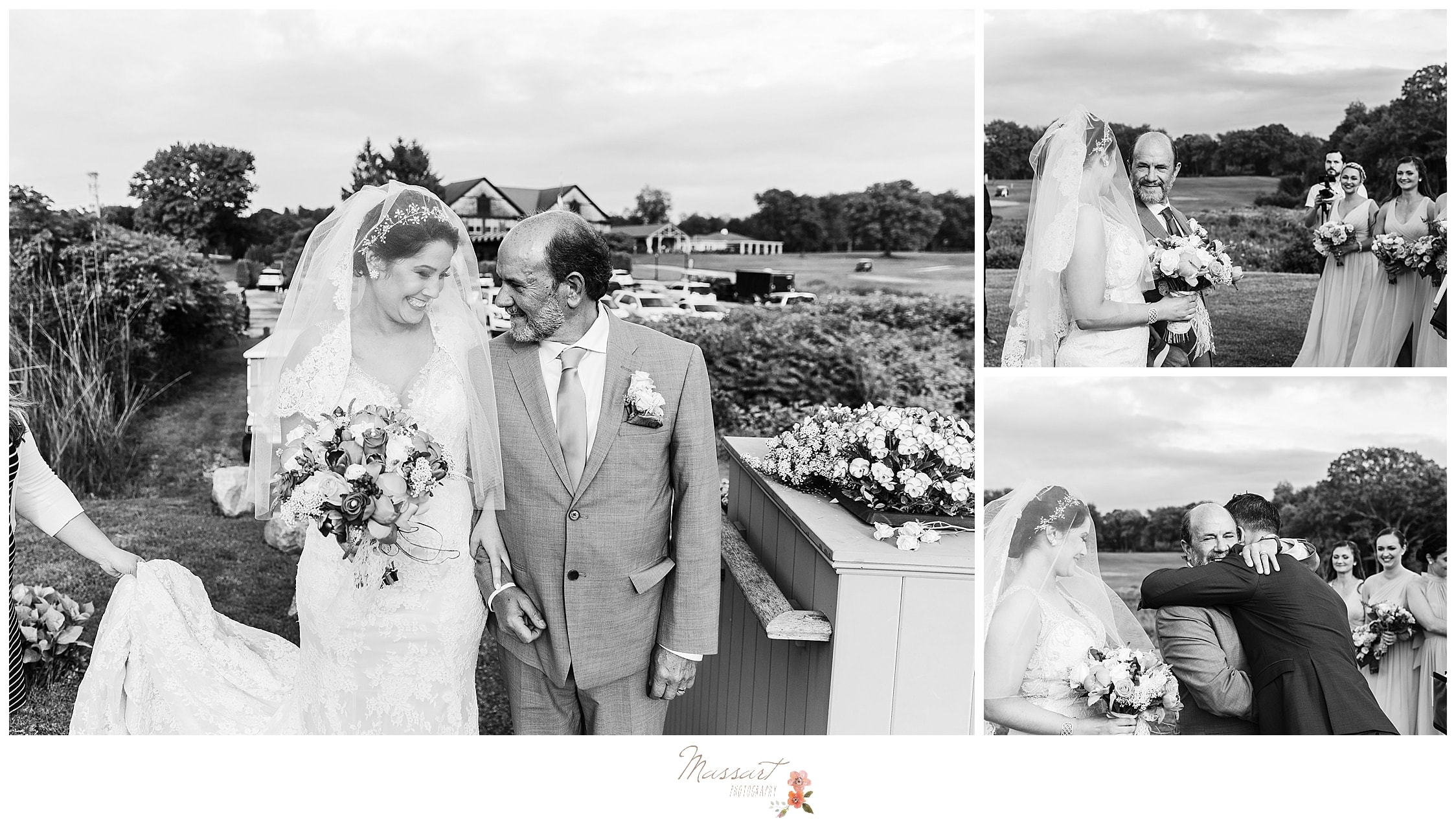 Bride coming down the aisle with father for outdoor summer wedding photographed by RI wedding photographers Massart Photography.