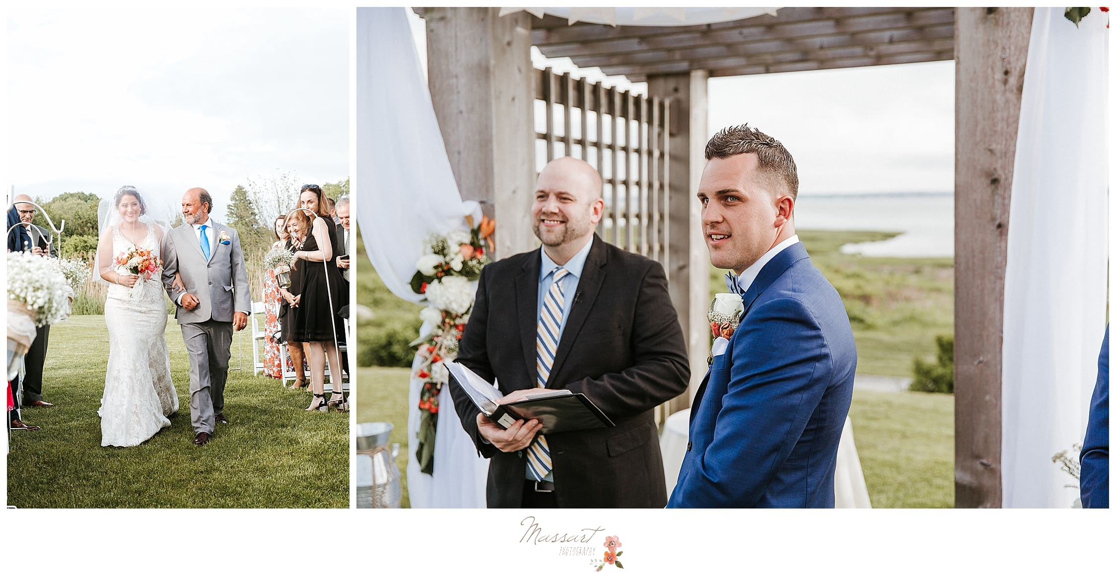 Groom waiting for bride to come down the aisle at Harbor Lights wedding photographed by Massart Photography, RI wedding photographer.