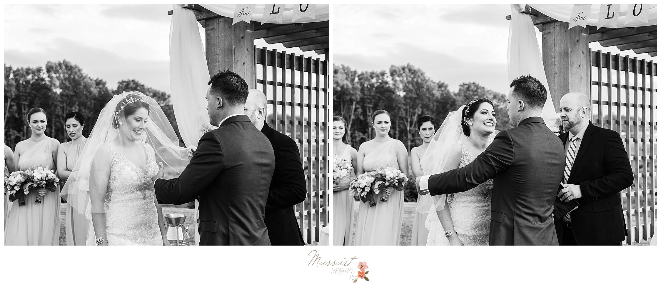 Outdoor summer wedding ceremony at Harbor Lights in RI photographed by CT, MA, RI wedding photographers Massart Photography.