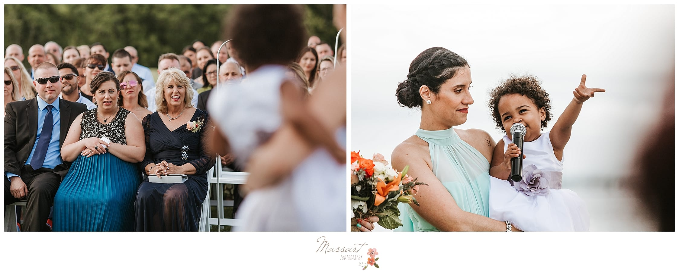 Flower girl hanging out with bridesmaid during wedding ceremony at Harbor Lights photographed by RI wedding photographers Massart Photography.