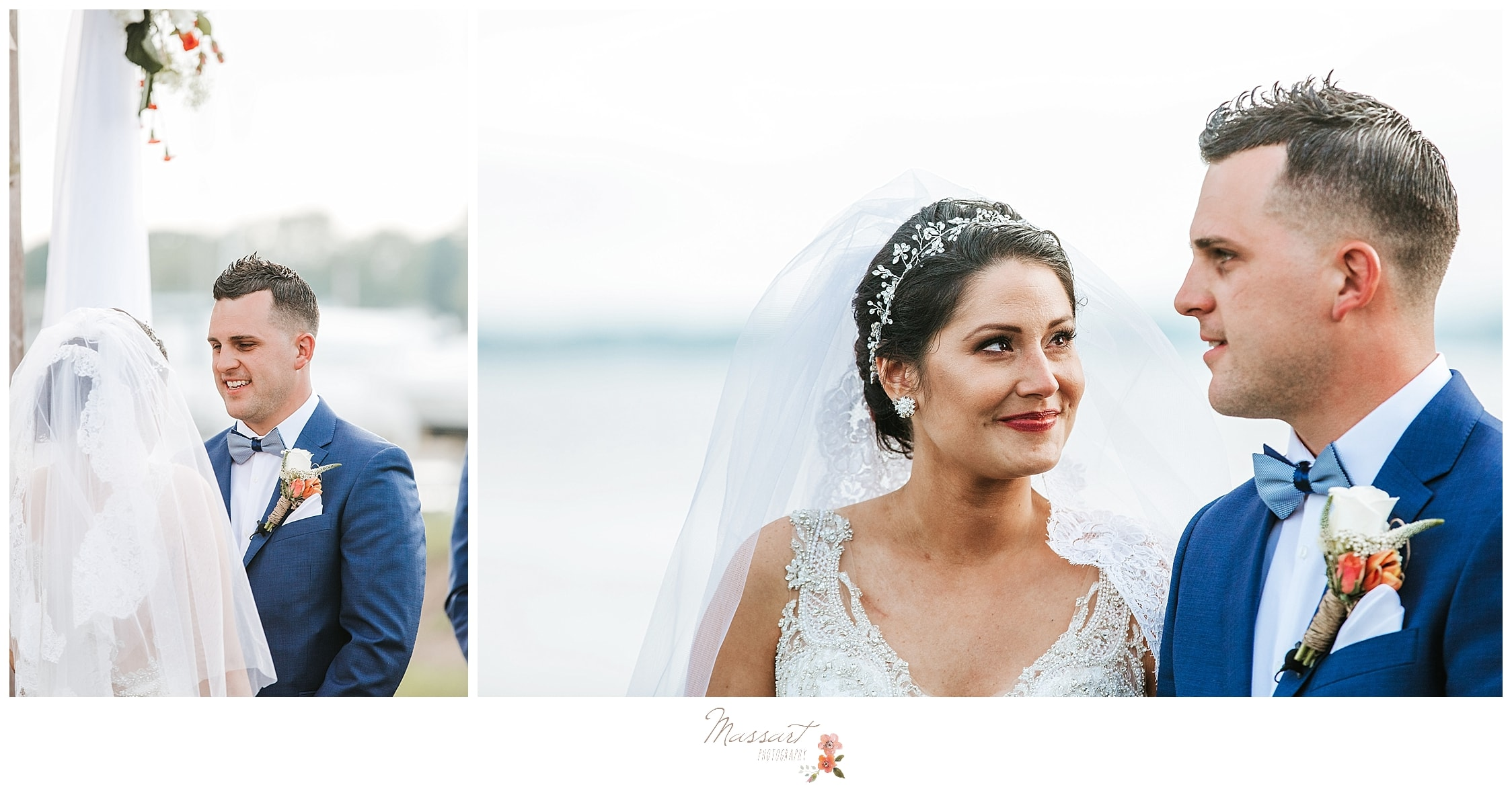 Navy and coral summer wedding ceremony photographed by RI wedding photographers Massart Photography.