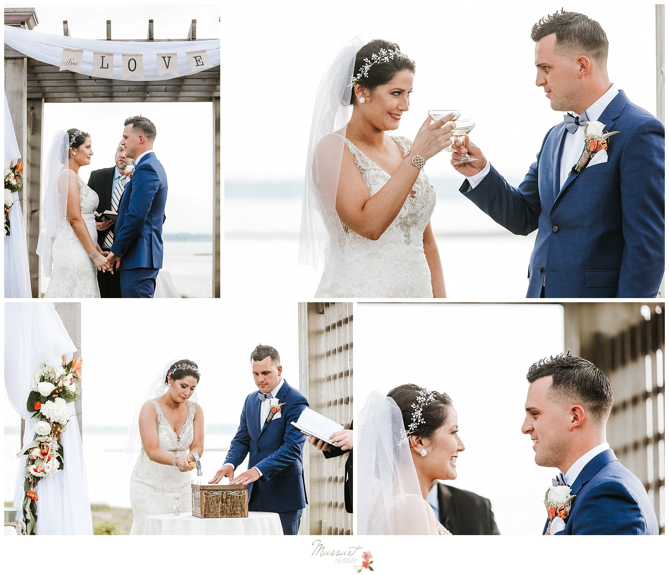 Waterfront wedding ceremony with champagne at Harbor Lights in RI photographed by Massart Photography, RI CT and MA wedding photographers.