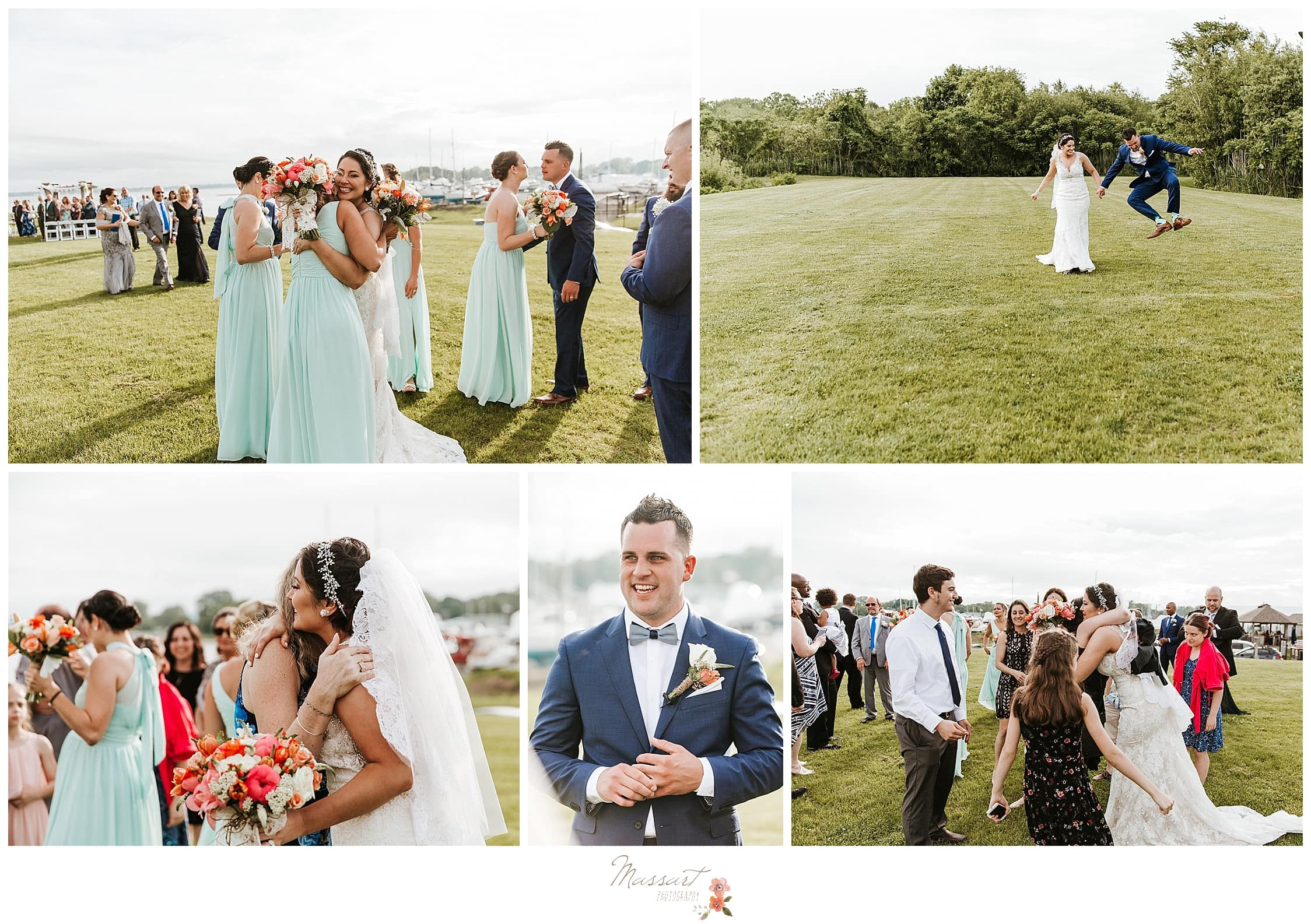 After ceremony celebration with navy and teal details at Harbor Lights in RI photographed by MA and Ct wedding photographers Massart Photography.