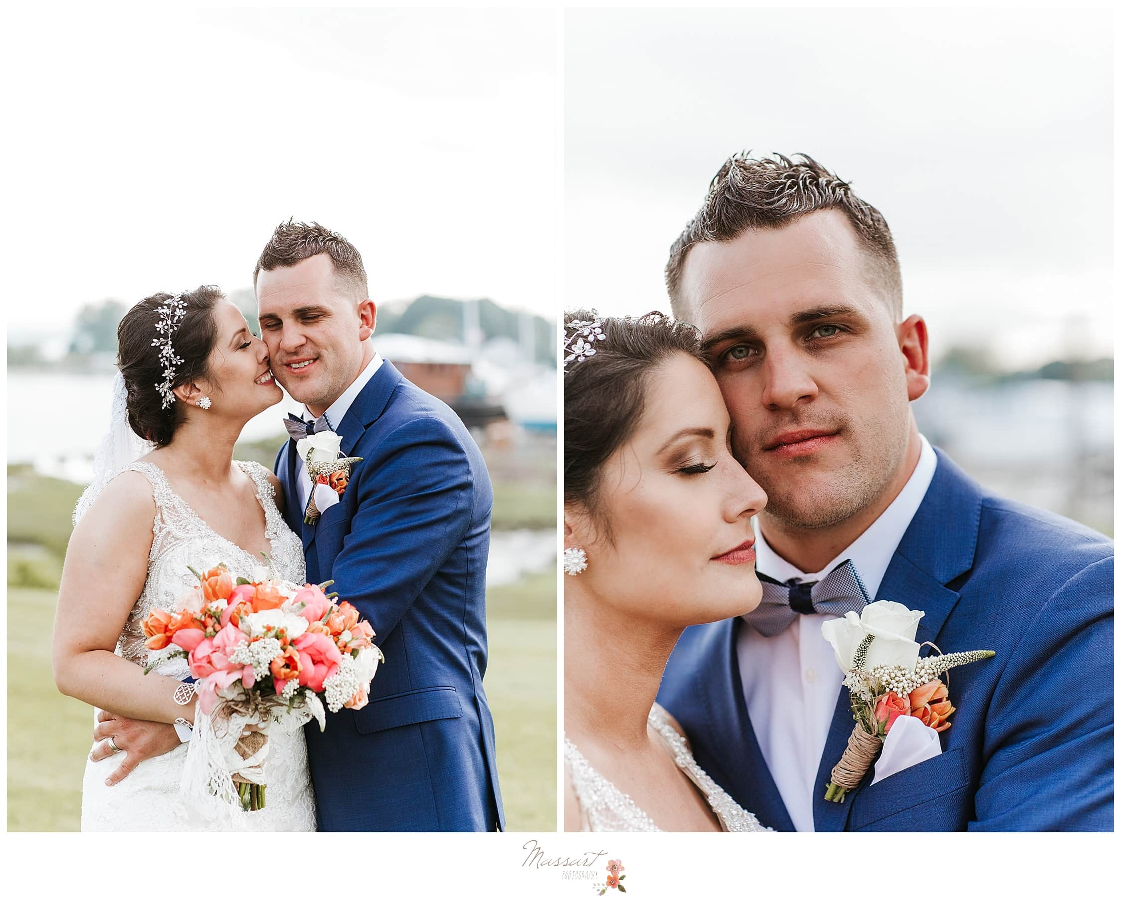 Navy, coral and ivory wedding portraits at Harbor Lights photographed by RI wedding photographers Massart Photography.