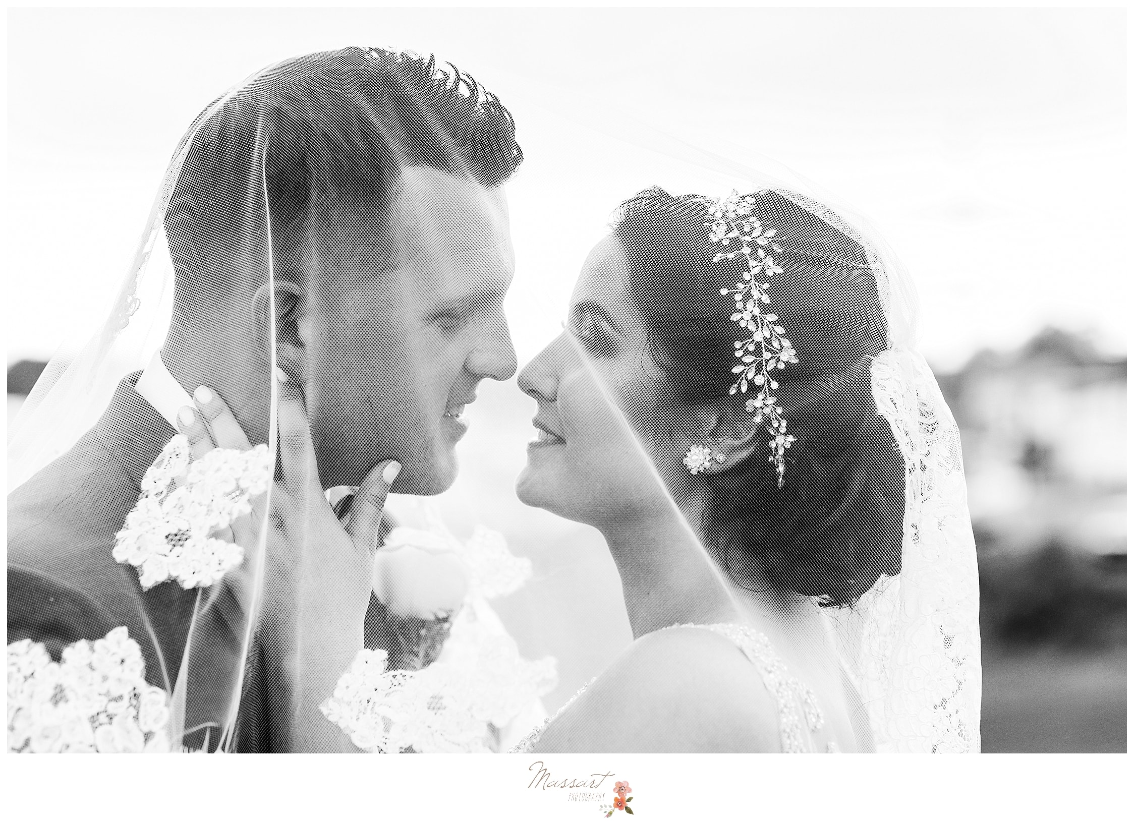 Classic black and white wedding portrait of new husband and wife photographed by MA and RI wedding photographer Massart Photography.