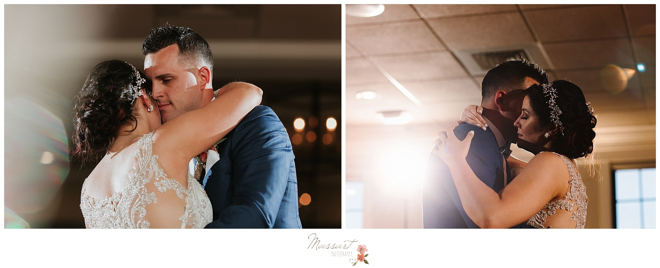 New husband and wife embrace during first dance at reception in RI photographed by Massart Photography who offer maternity, newborn, family and cake smash sessions.