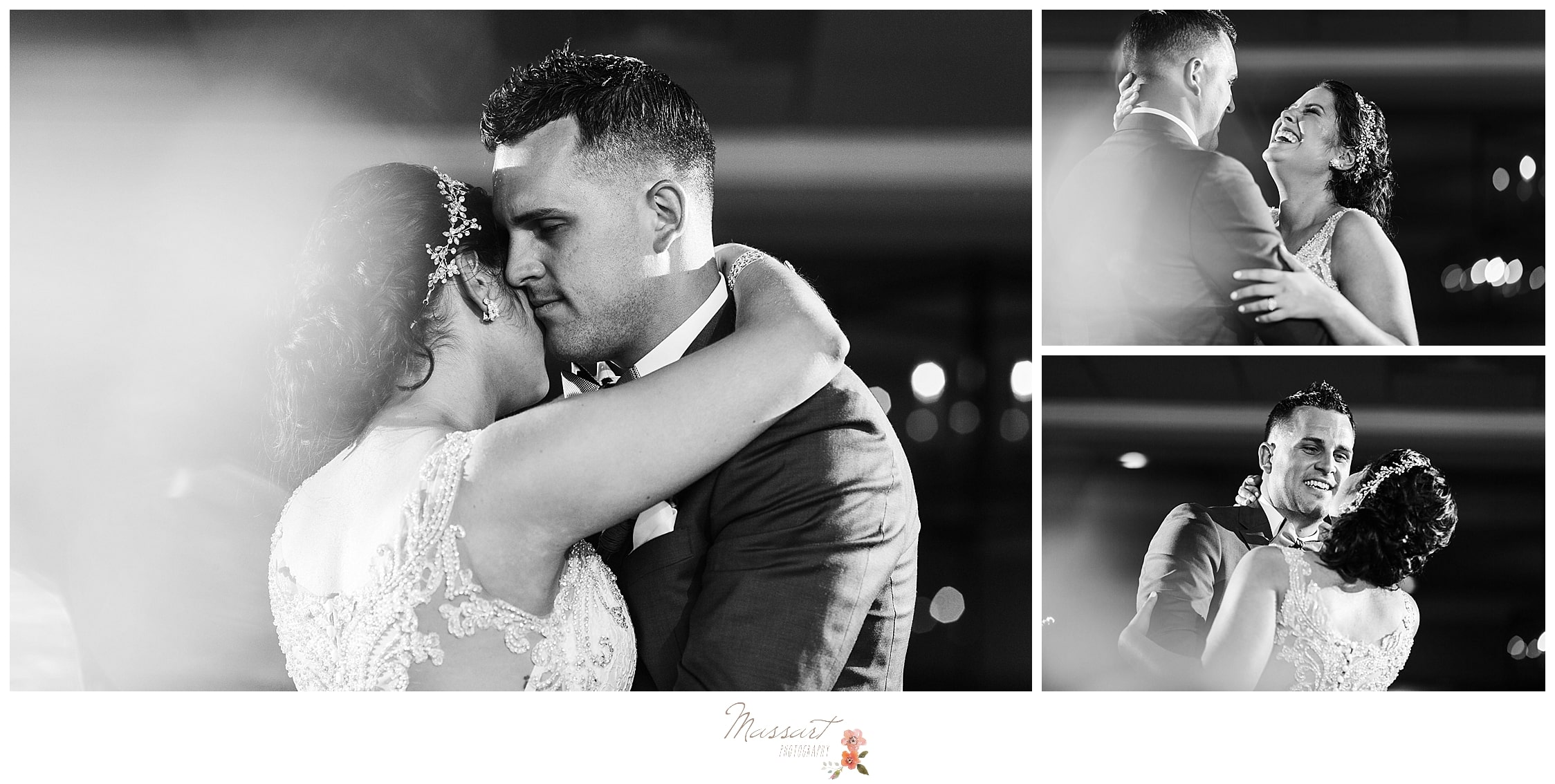 Emotional moments between bride and groom during their first dance at Harbor Lights photographed by CT wedding photographers Massart Photography.