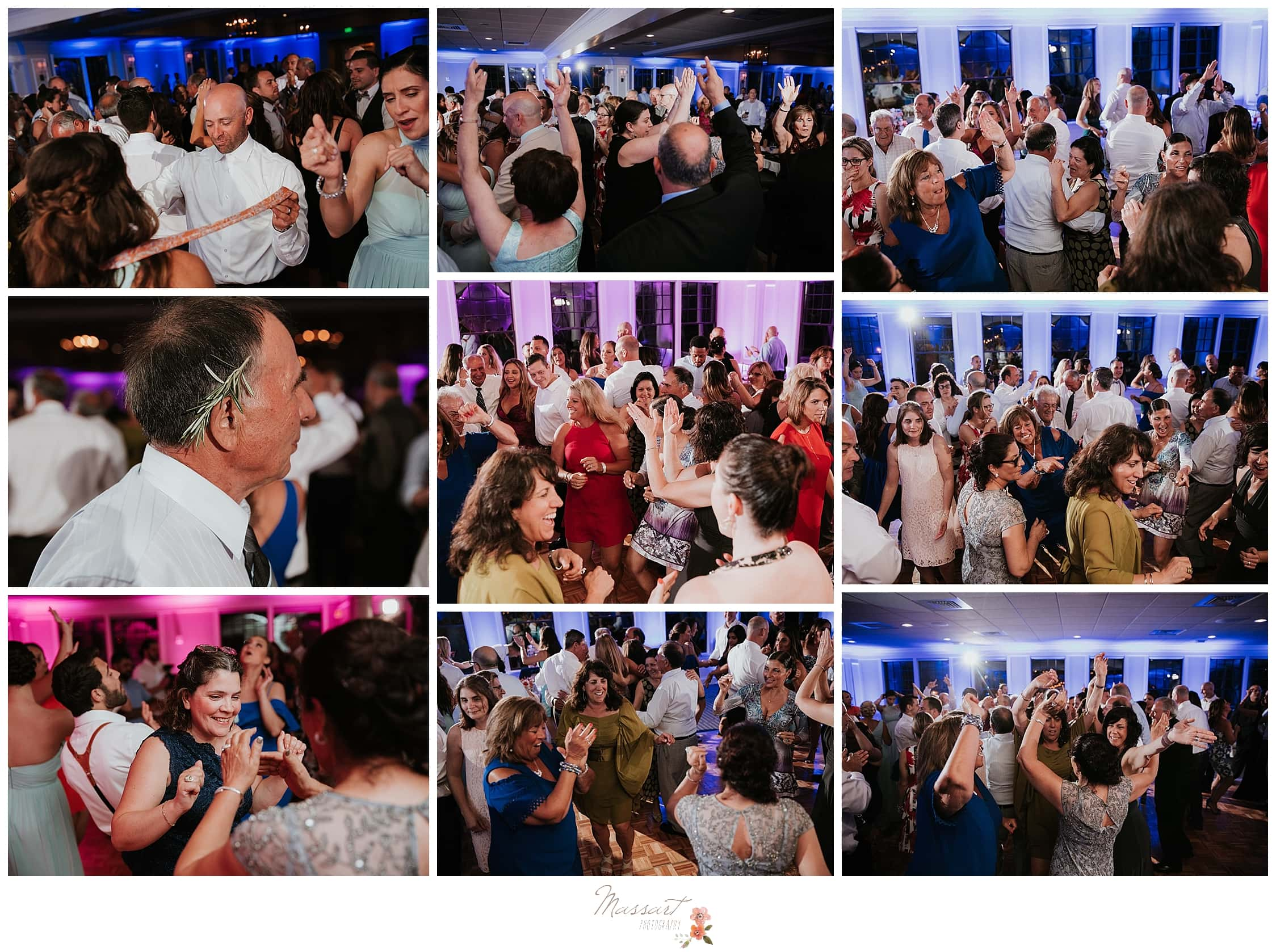 Wedding guests dancing during wedding reception at Harbor Lights photographed by Massart Photography, RI wedding photographers.