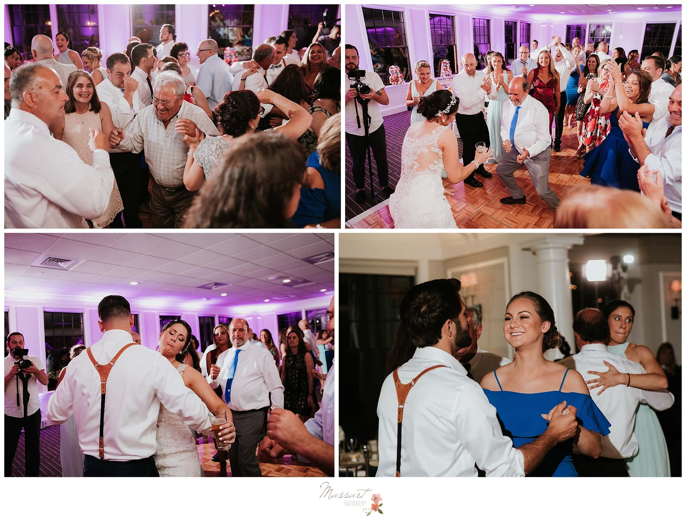 Bride and groom dnace with wedding guests photographed by Massart Photography, RI based wedding photographers.
