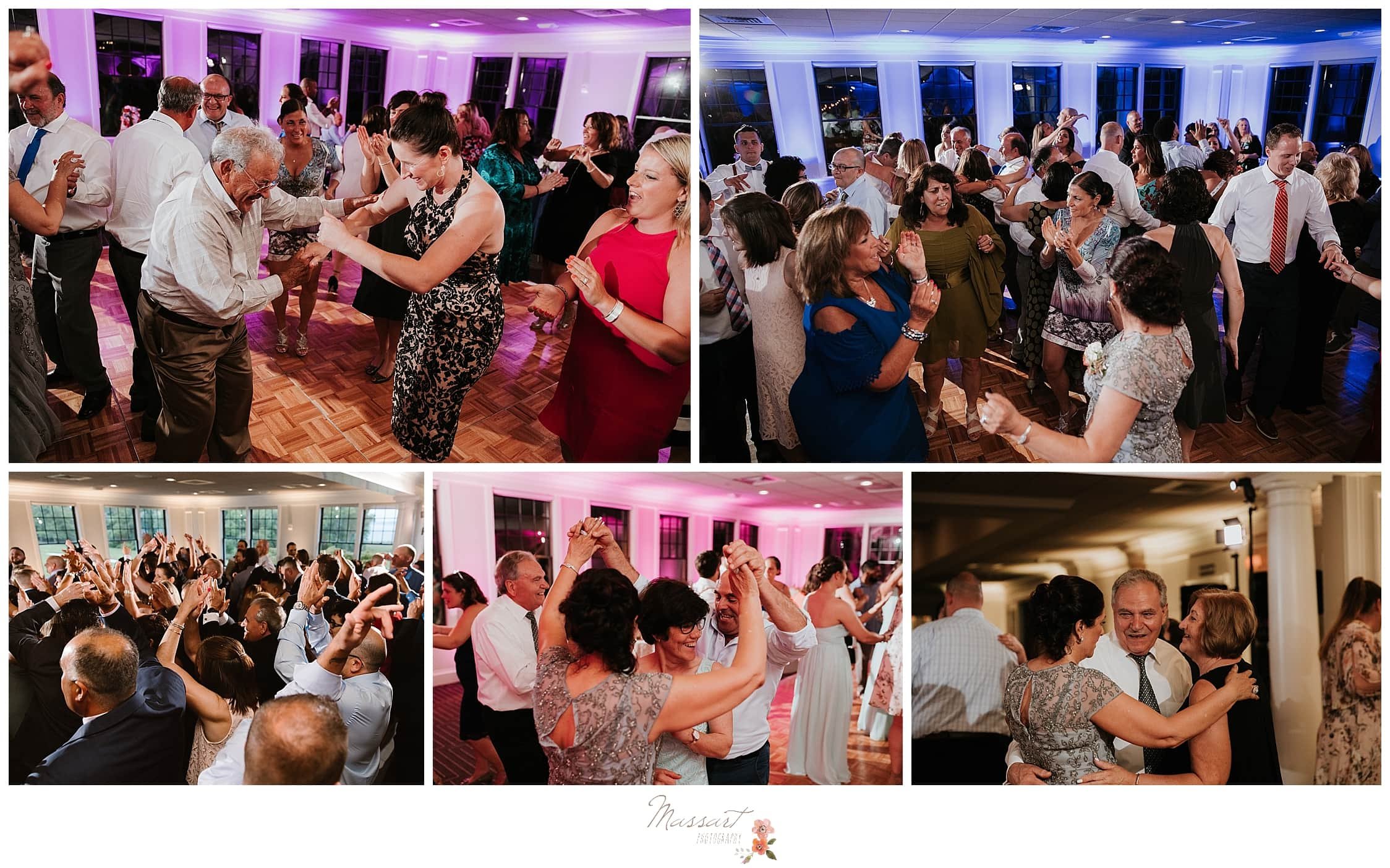 Wedding dances by guests celebrating new bride and groom photographed by CT wedding photographers Massart Photography.