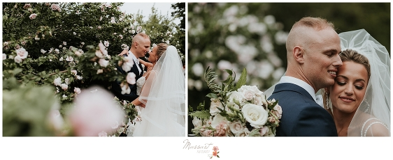 Couple poses in the garden at Castle Hill Inn photographed by MA, CT, RI wedding photographers Massart Photography