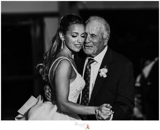 bride dances with grandfather during reception at Castle Hill Inn photographed by Massart Photography