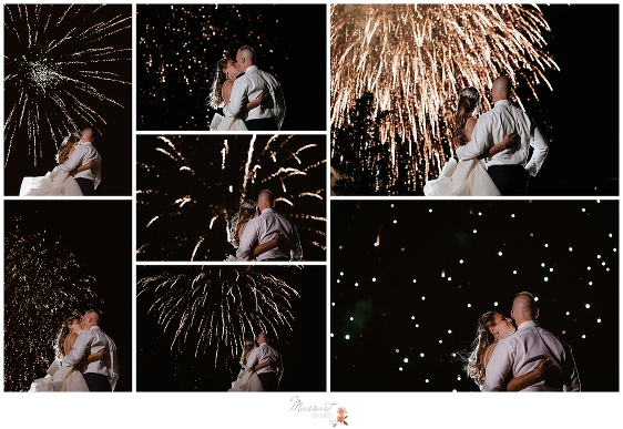 newly married couple watches fireworks at Castle Hill Inn wedding photographed by Newport RI wedding photographers Massart Photography