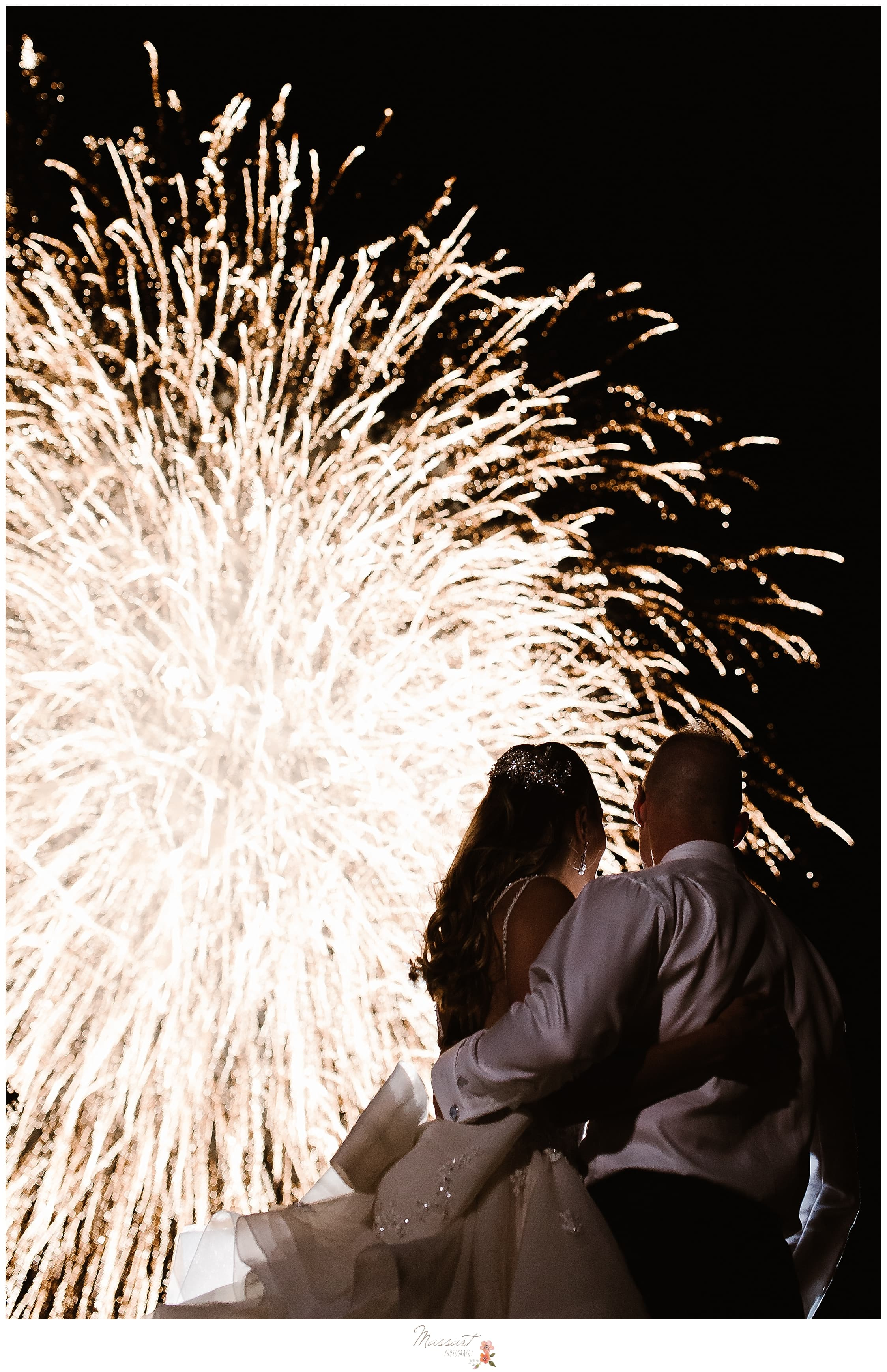 reception firework display at Castle Hill Inn wedding day in Newport RI photographed by Massart Photography