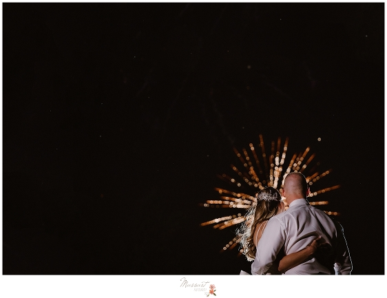 firework display at Castle Hill Inn wedding reception photographed by Massart Photography
